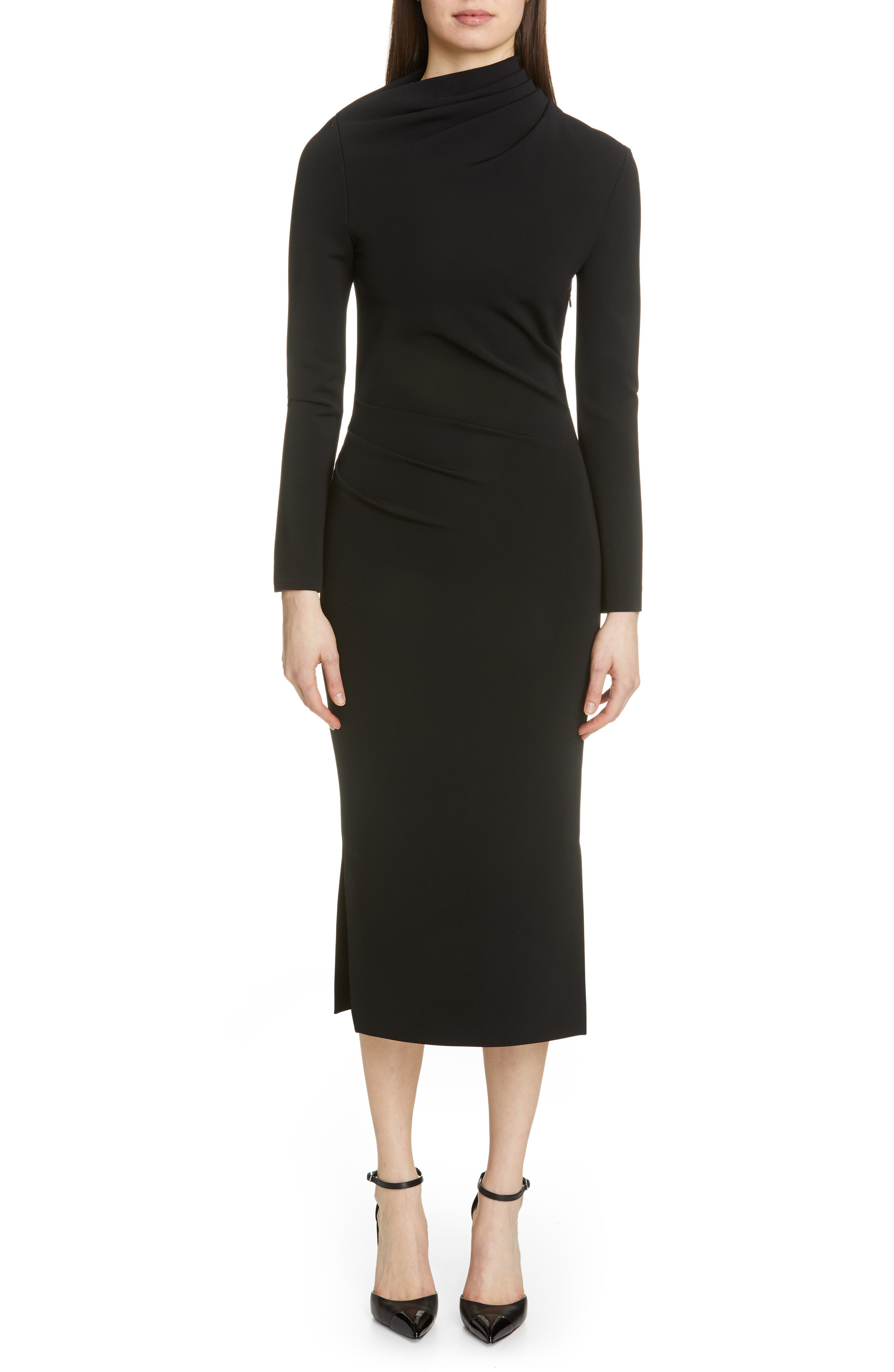 BRANDON MAXWELL, Side Drape Jersey Dress, Main thumbnail 1, color, BLACK