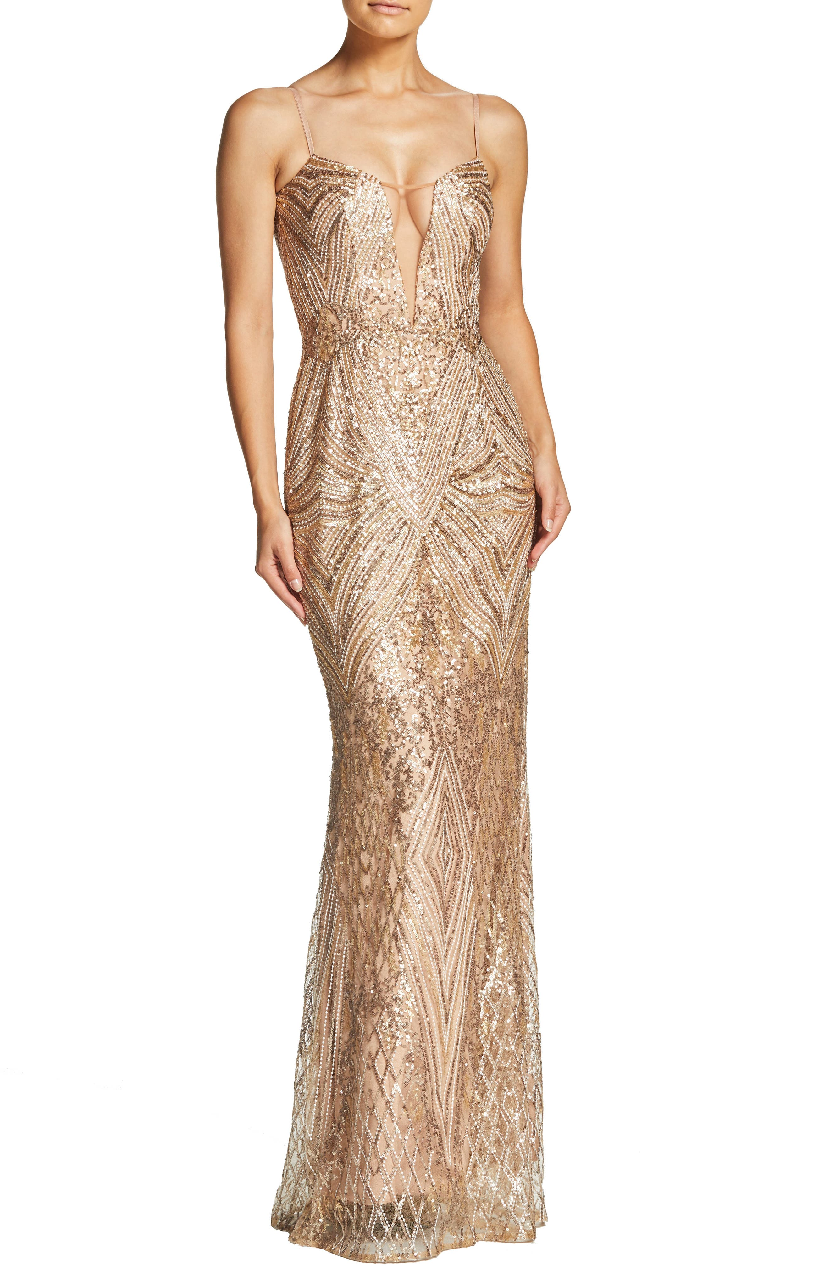 DRESS THE POPULATION Mara Art Deco Sequin Trumpet Gown, Main, color, GOLD/ BRASS
