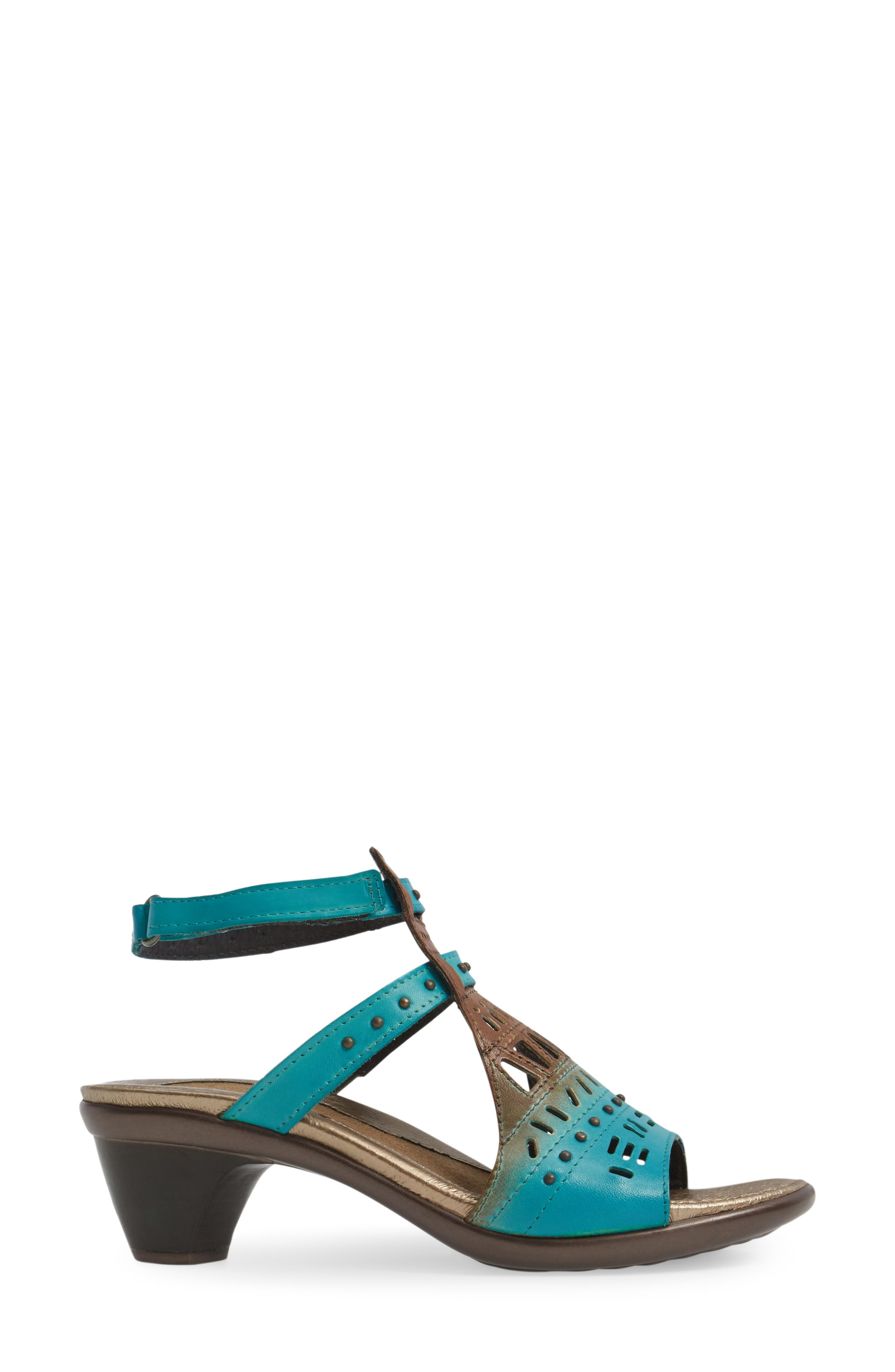 NAOT, 'Vogue' Sandal, Alternate thumbnail 3, color, TEAL BROWN LEATHER