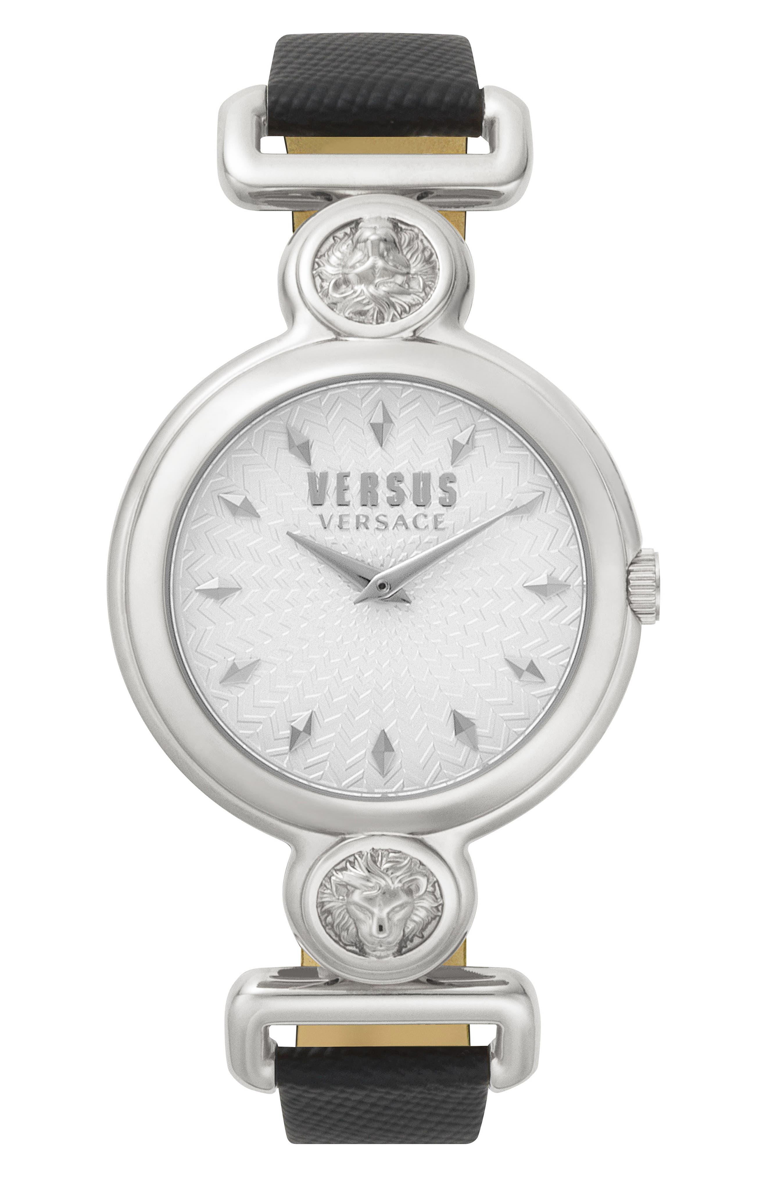 VERSUS VERSACE Sunnyridge Leather Strap Watch, 34mm, Main, color, 001
