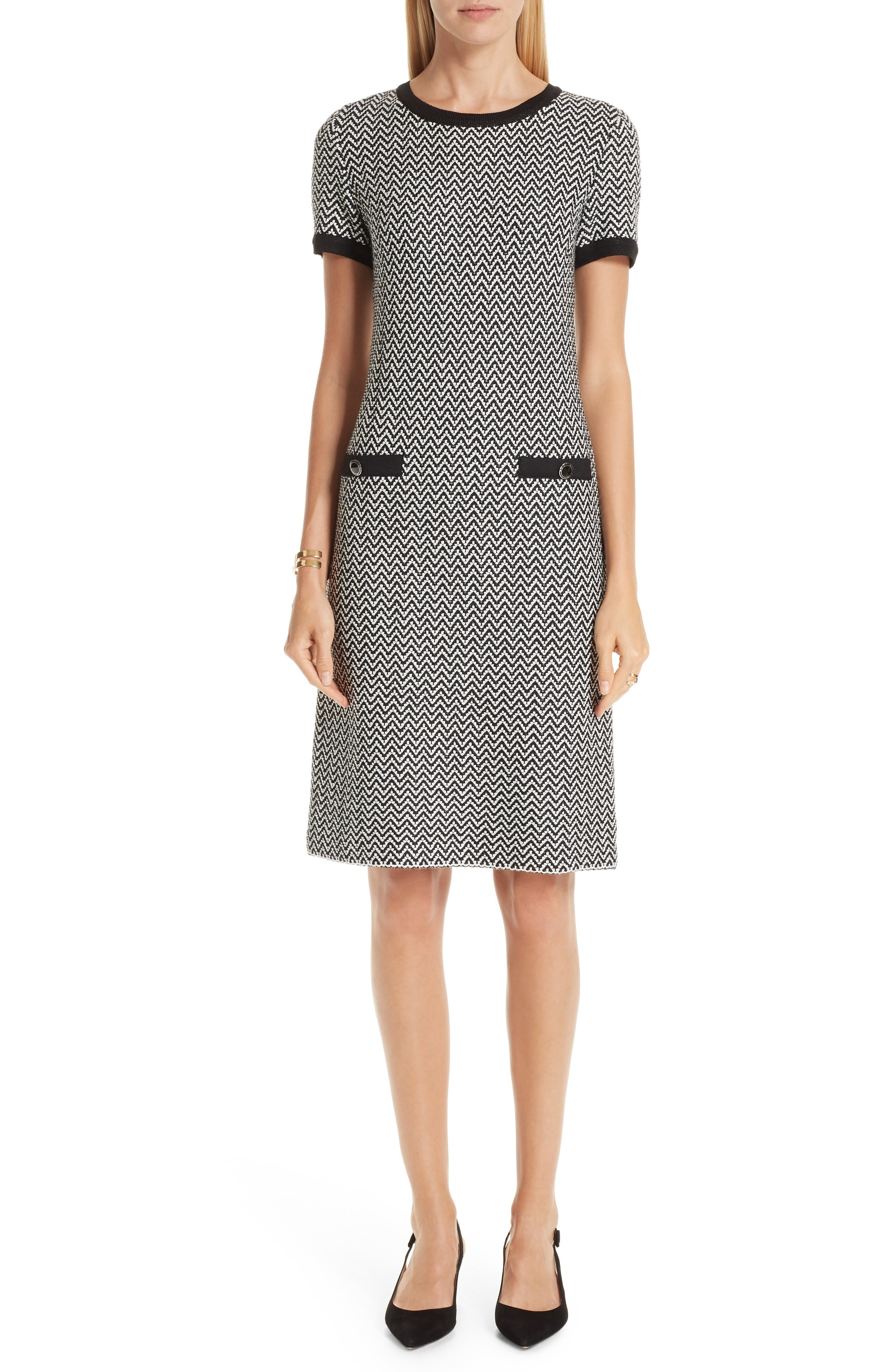 ST. JOHN COLLECTION, Mod Herringbone Knit Dress, Main thumbnail 1, color, CAVIAR/ CREAM