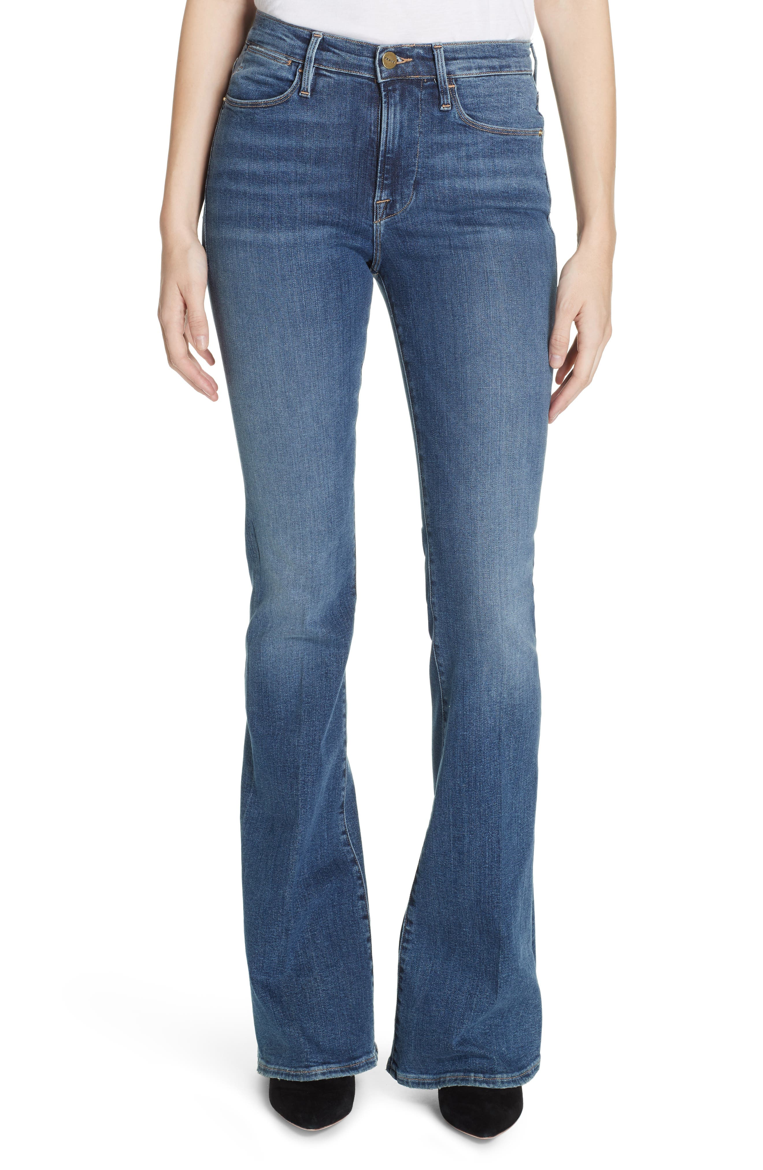 FRAME Le High Flare Jeans, Main, color, CRISTALLO