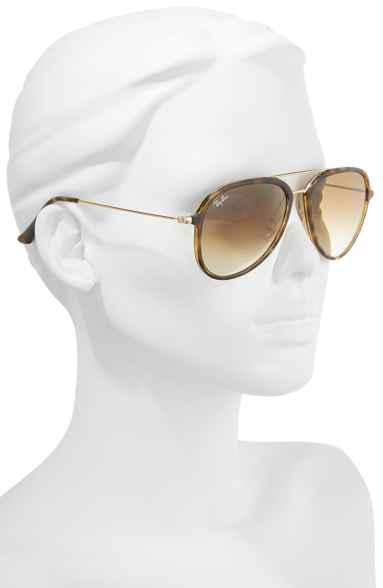 RAY-BAN, 57mm Pilot Sunglasses, Alternate thumbnail 2, color, LIGHT HAVANA
