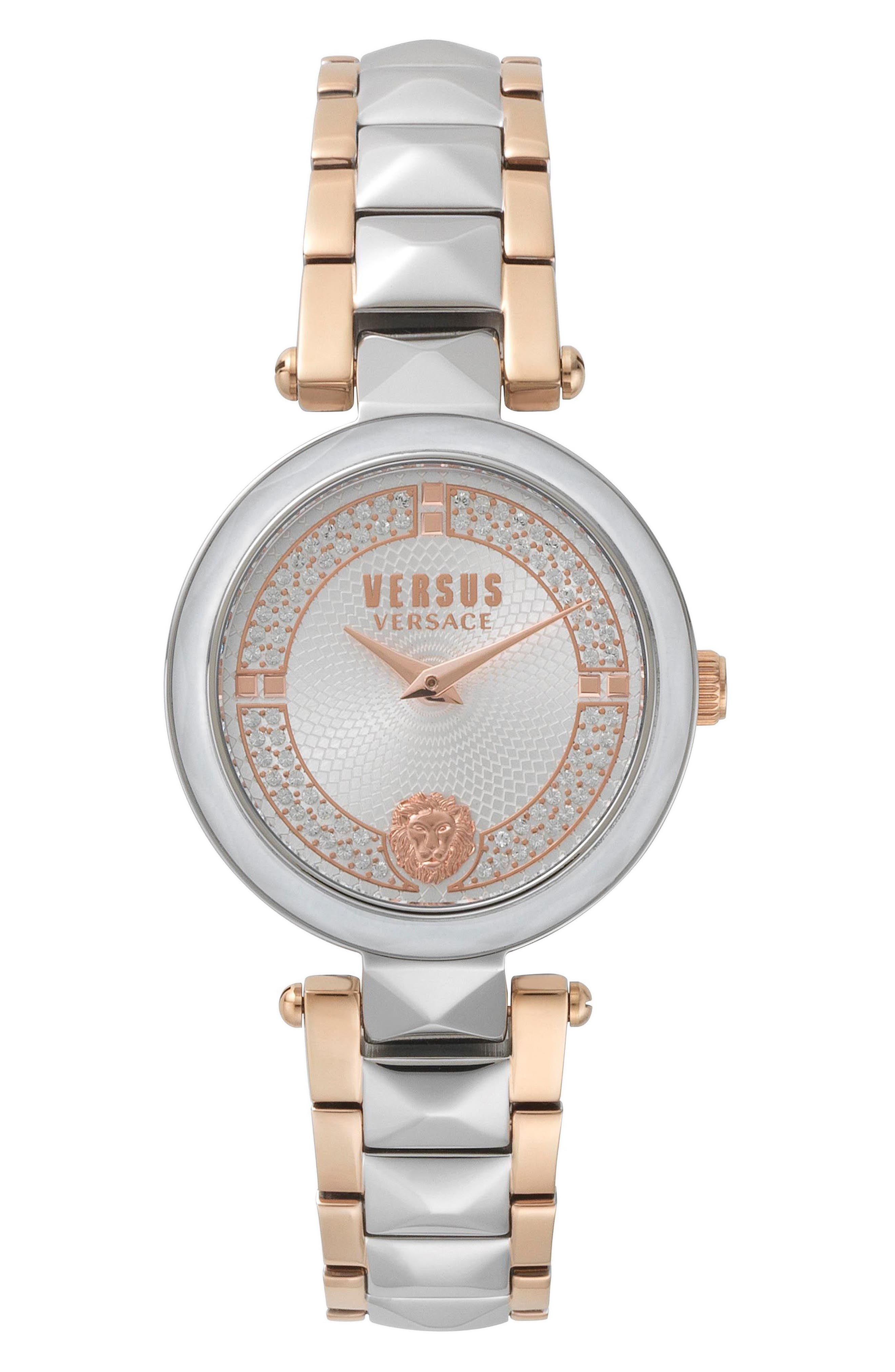 VERSUS VERSACE, Covent Garden Bracelet Watch, 36mm, Main thumbnail 1, color, ROSE GOLD/ WHITE/ SILVER
