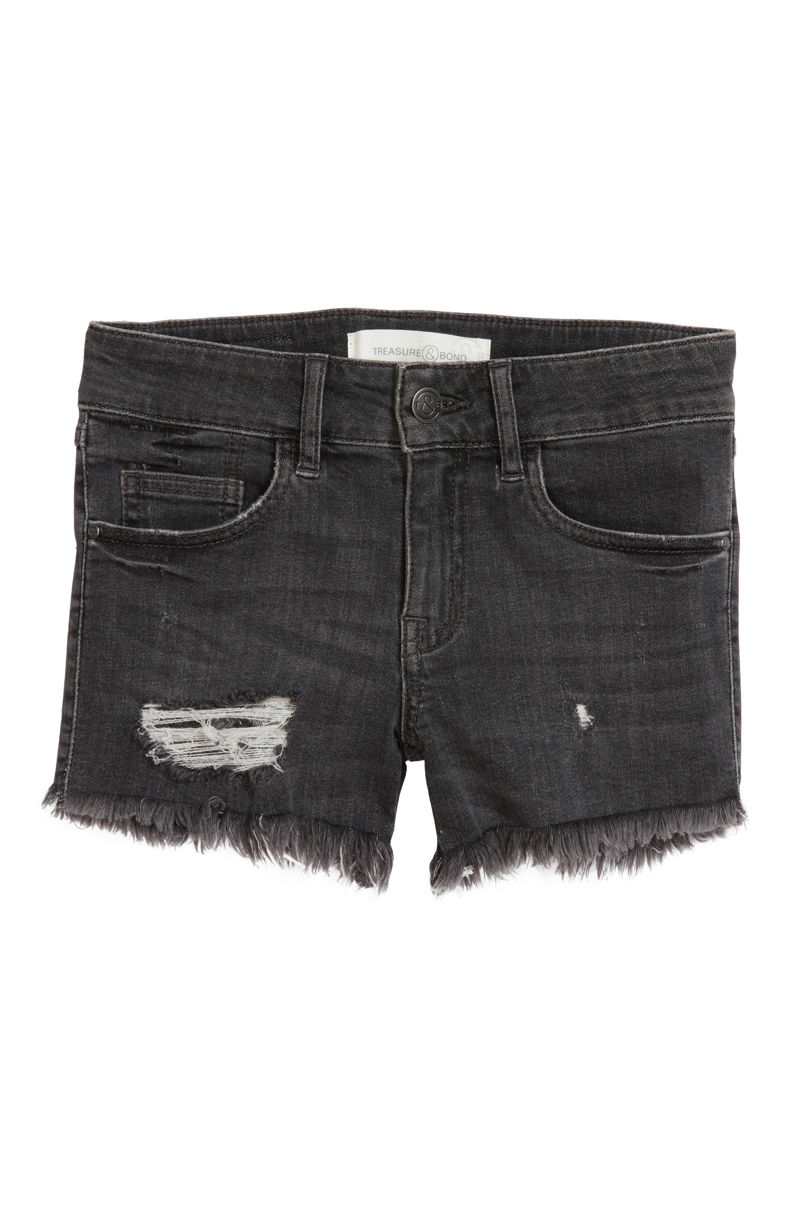 TREASURE & BOND, Distressed Cutoff Denim Shorts, Main thumbnail 1, color, BLACK VINTAGE WASH