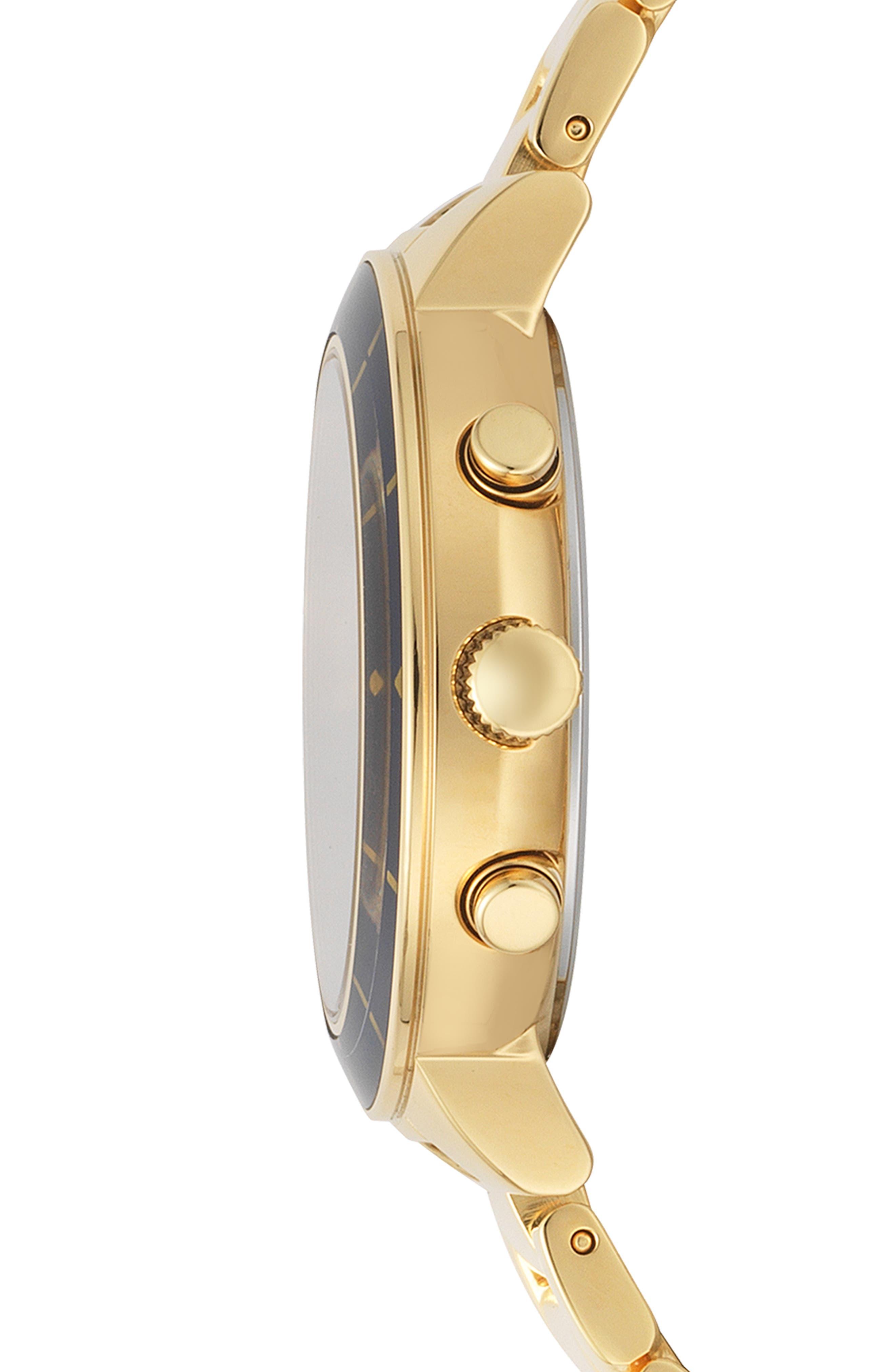 VERSUS VERSACE, Harbour Heights Chronograph Bracelet Watch, 38mm, Alternate thumbnail 2, color, GOLD/ BLUE