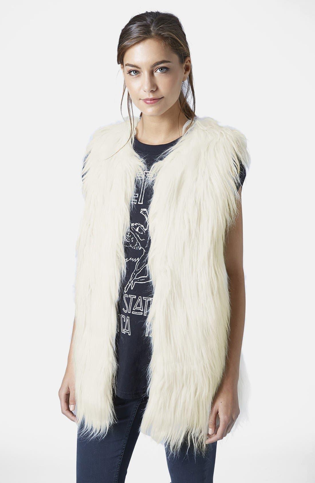 TOPSHOP Faux Fur Gilet Vest, Main, color, 900