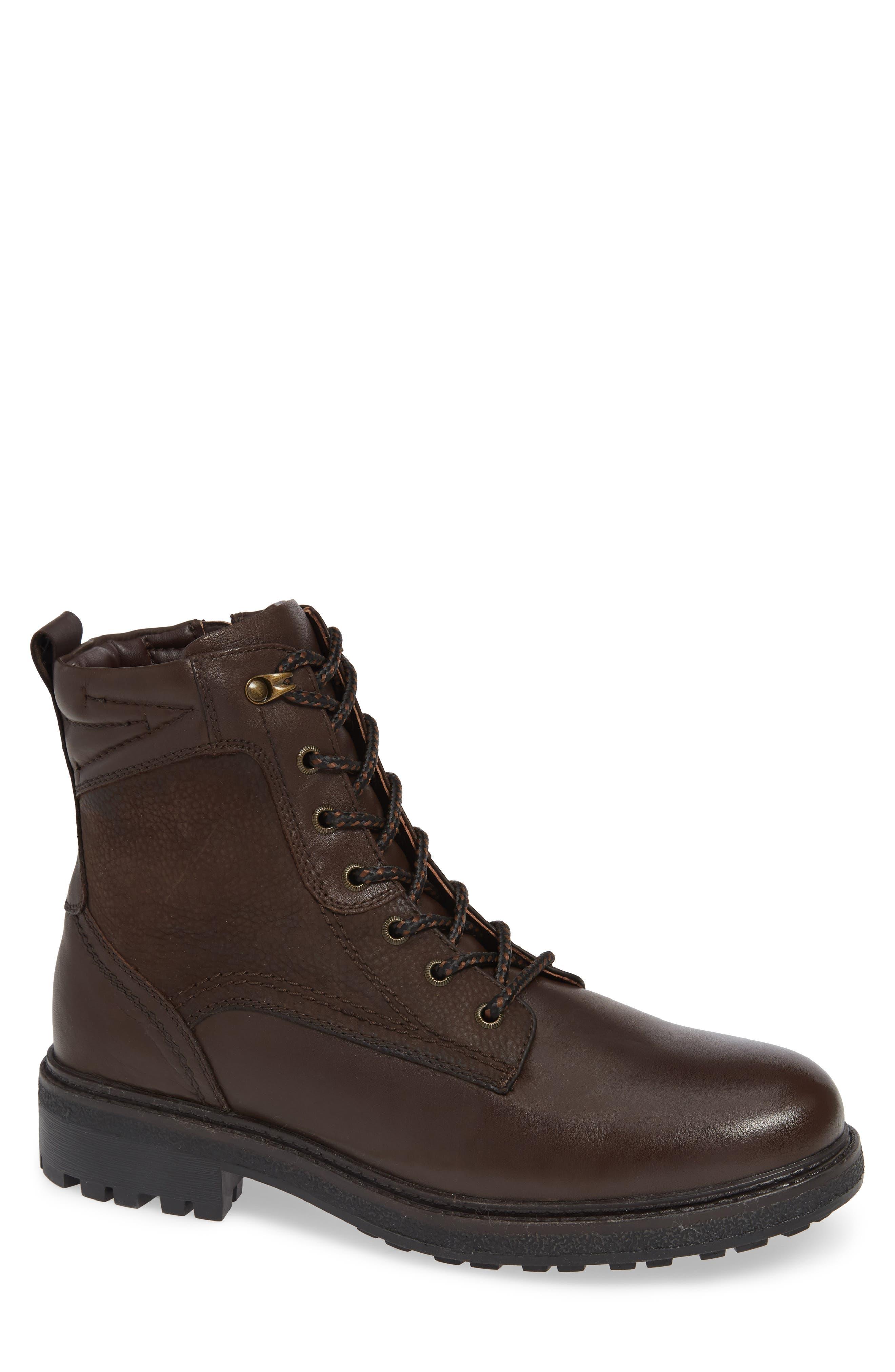 BLONDO, Jasper Waterproof Plain Toe Boot, Main thumbnail 1, color, BROWN LEATHER
