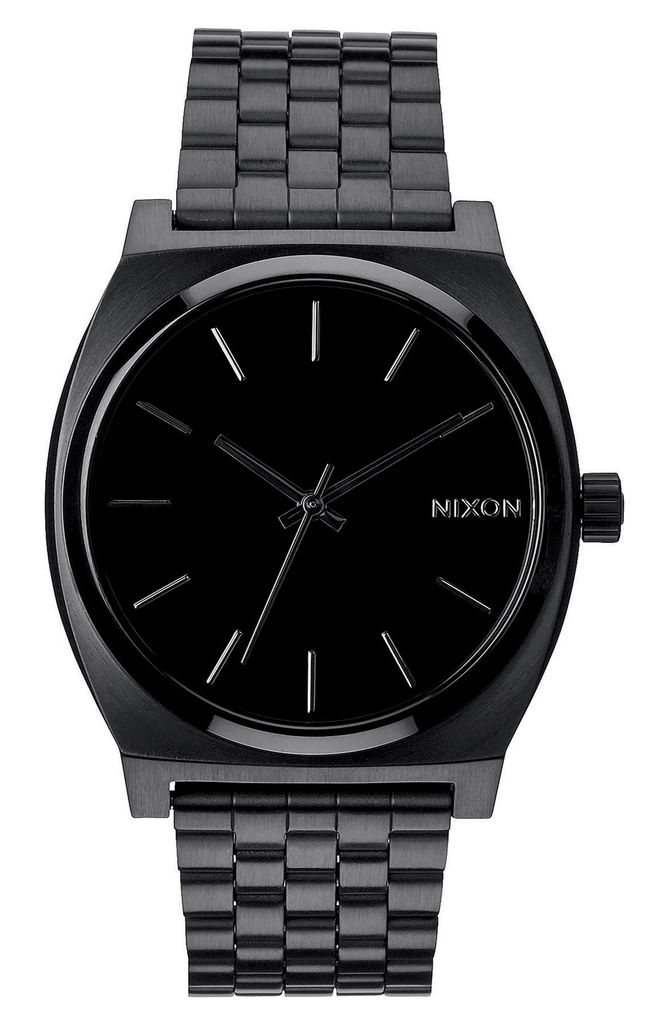 NIXON, 'The Time Teller' Stainless Steel Bracelet Watch, 37mm, Main thumbnail 1, color, BLACK/ BLACK