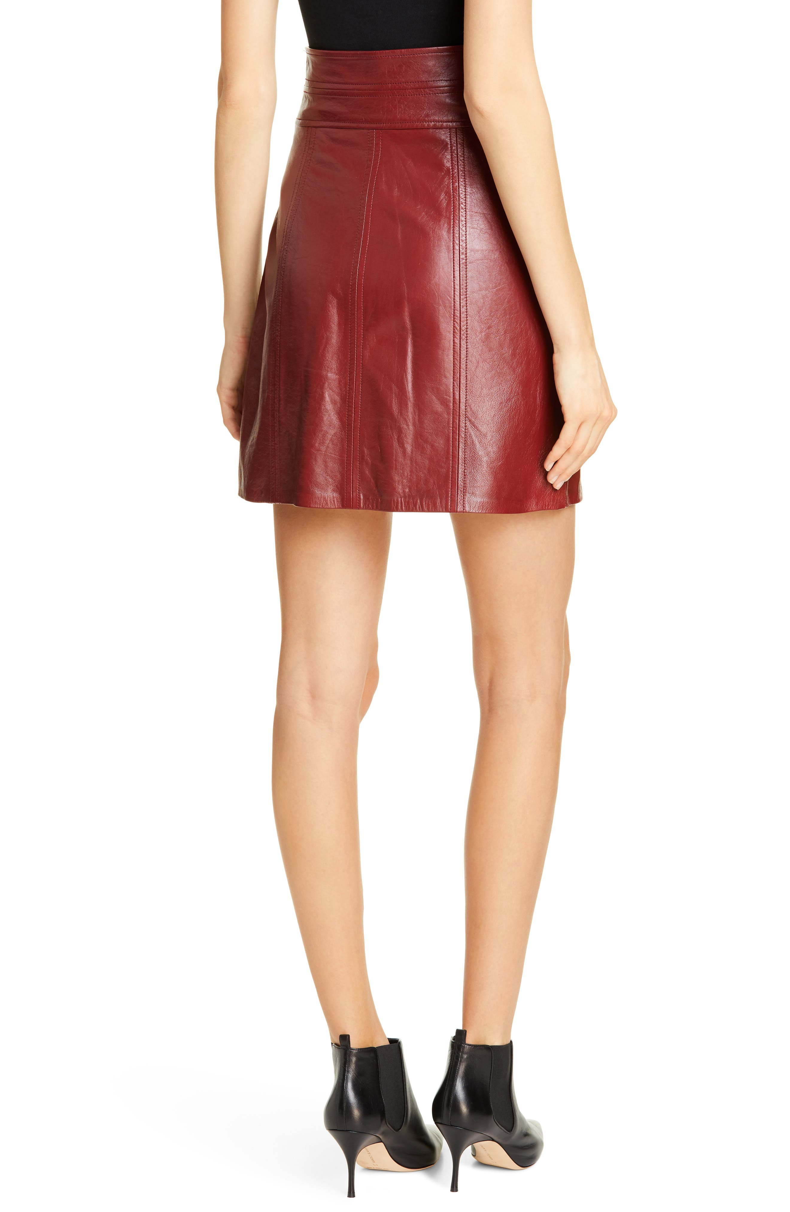 REBECCA TAYLOR, Leather Skirt, Alternate thumbnail 2, color, SPICE