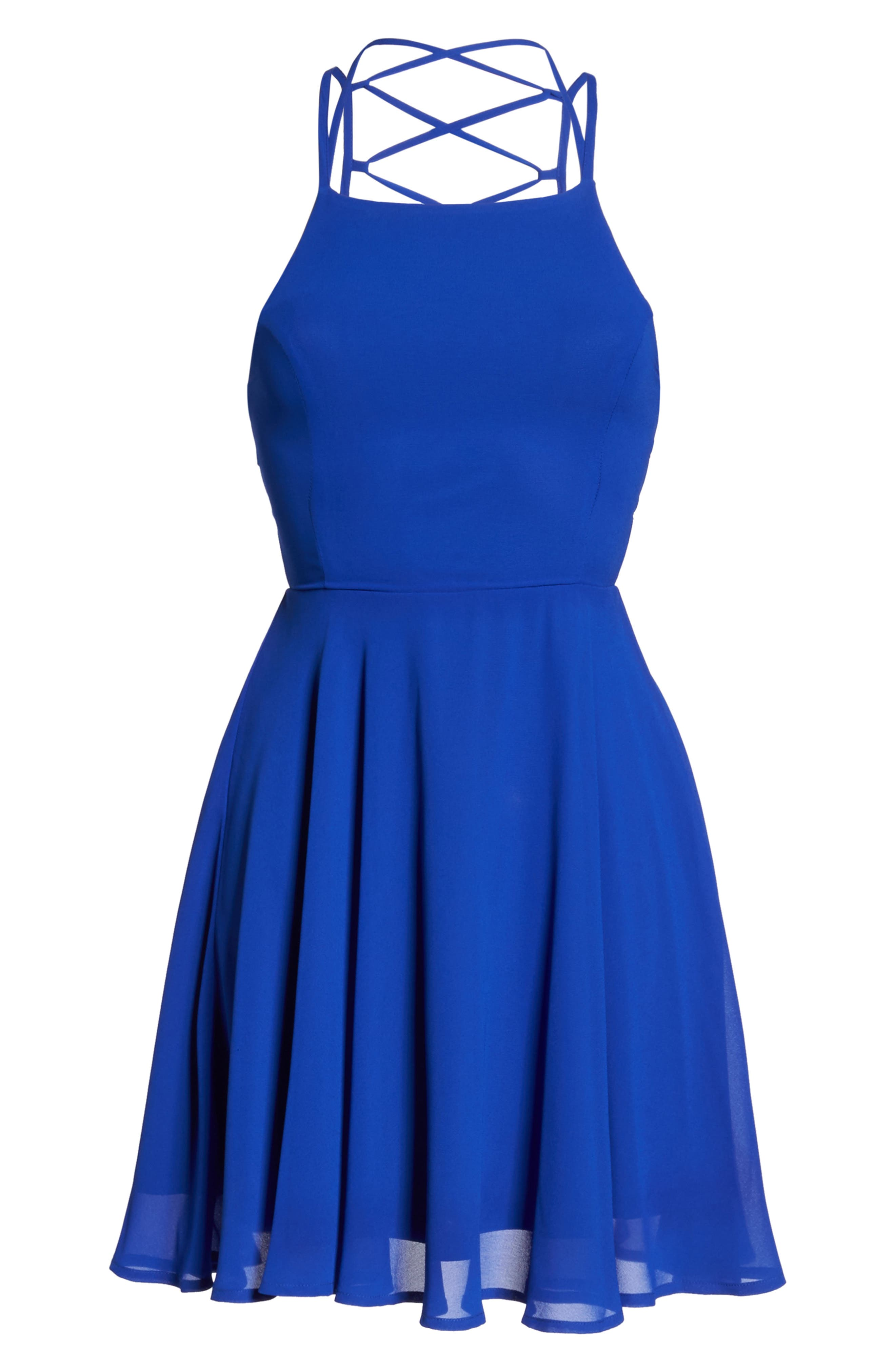 LULUS, Good Deeds Lace-Up Skater Dress, Alternate thumbnail 7, color, ROYAL BLUE