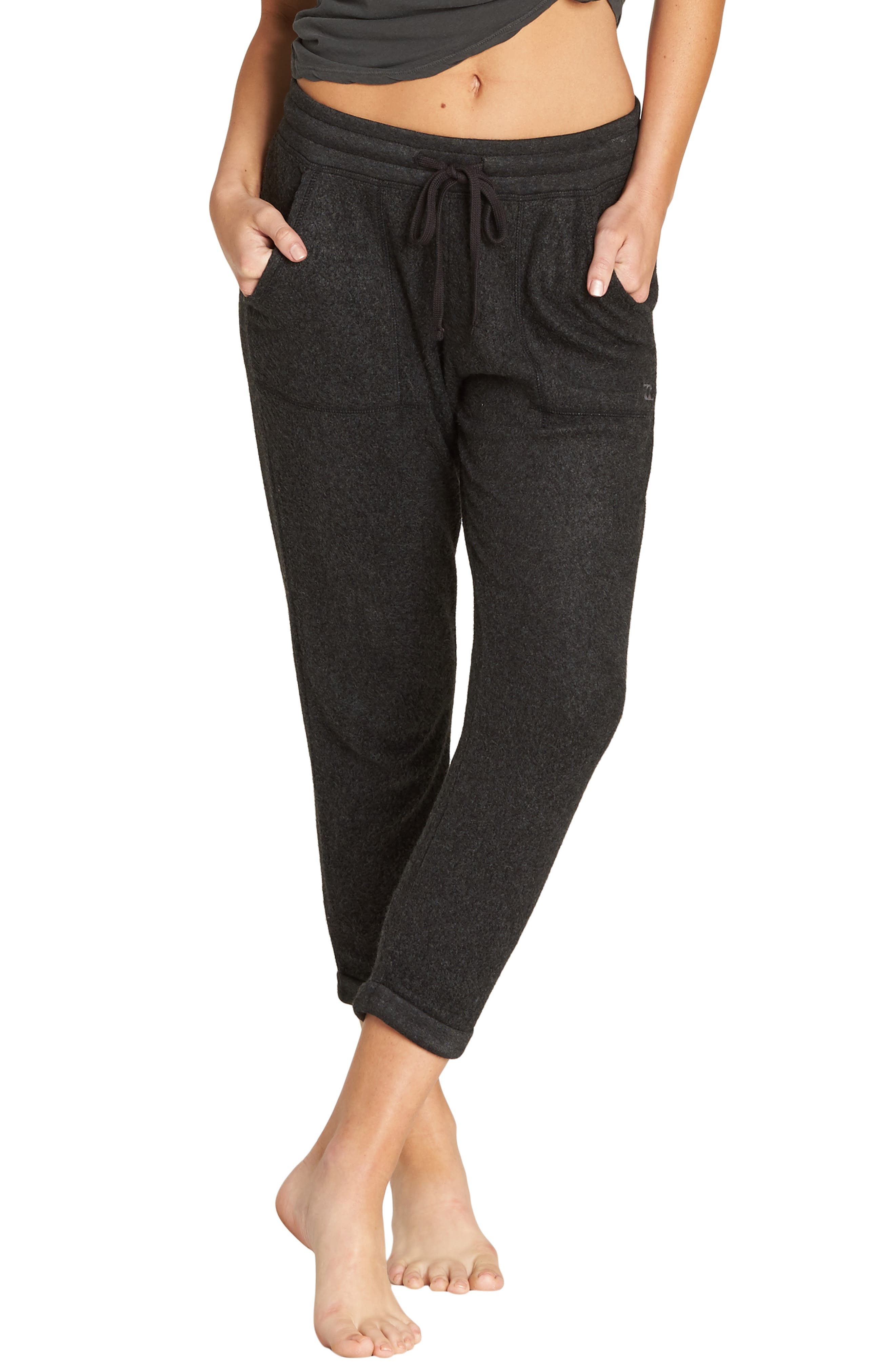 BILLABONG, So Cozy Crop Fleece Pants, Main thumbnail 1, color, 020