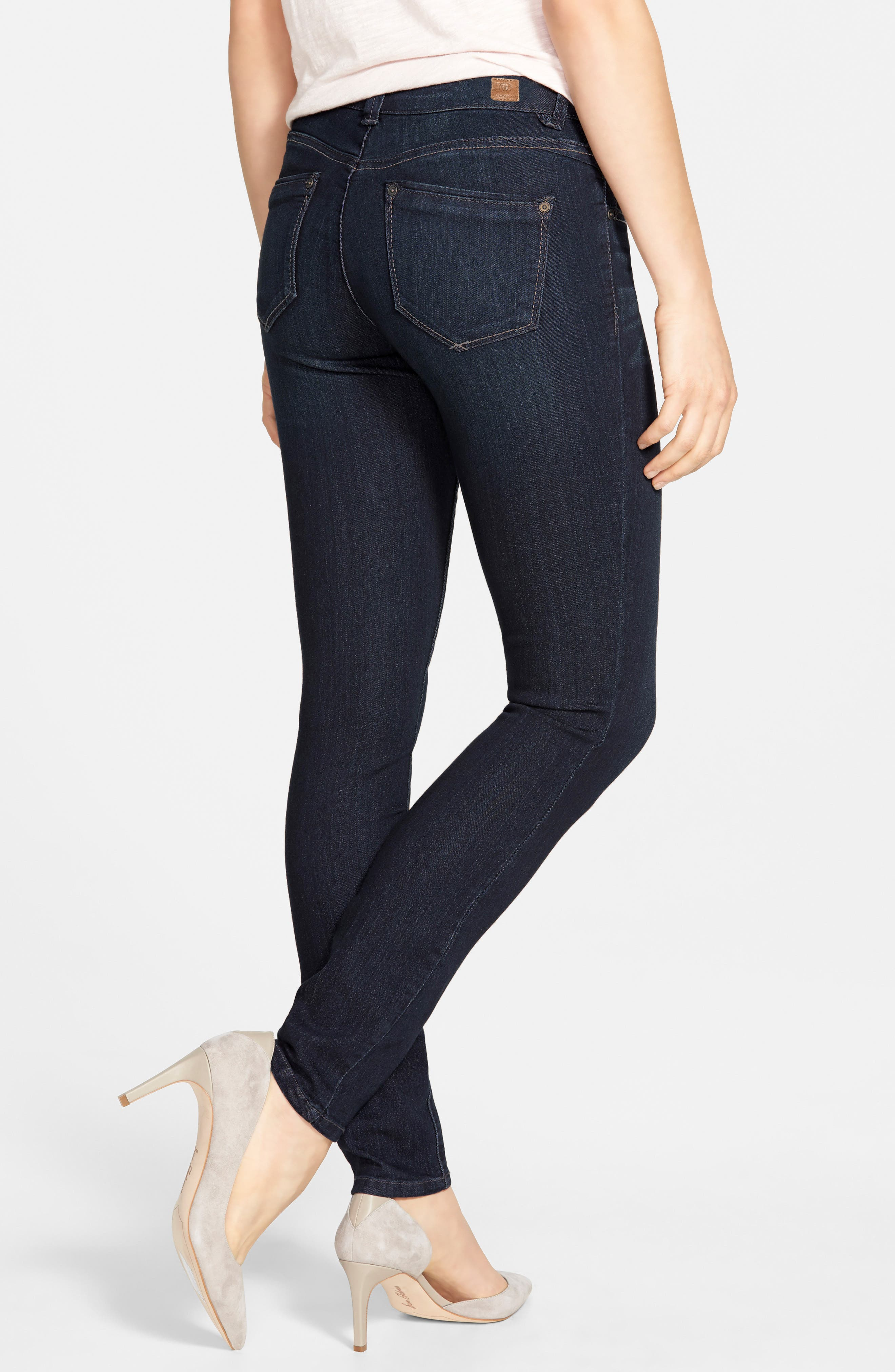 WIT & WISDOM, Super Smooth Stretch Denim Skinny Jeans, Alternate thumbnail 2, color, DARK NAVY