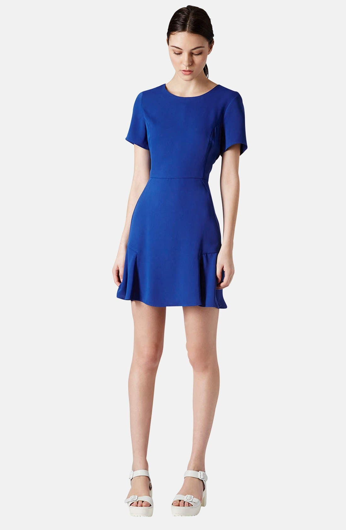 TOPSHOP, Crepe Fit & Flare Dress, Alternate thumbnail 5, color, 430