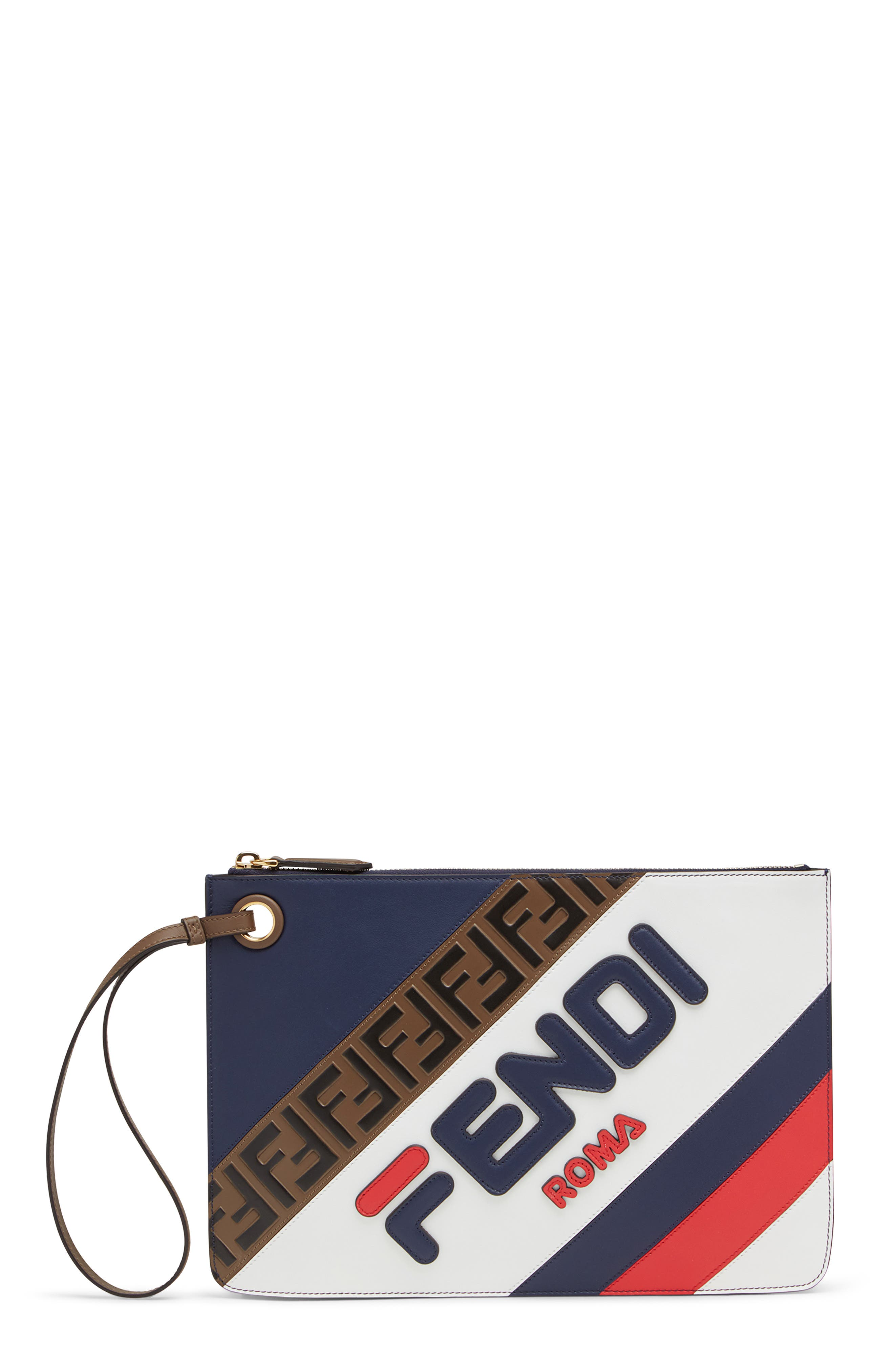 FENDI, x FILA Medium Mania Logo Leather Clutch, Main thumbnail 1, color, BLUE/ BERRY MULTI