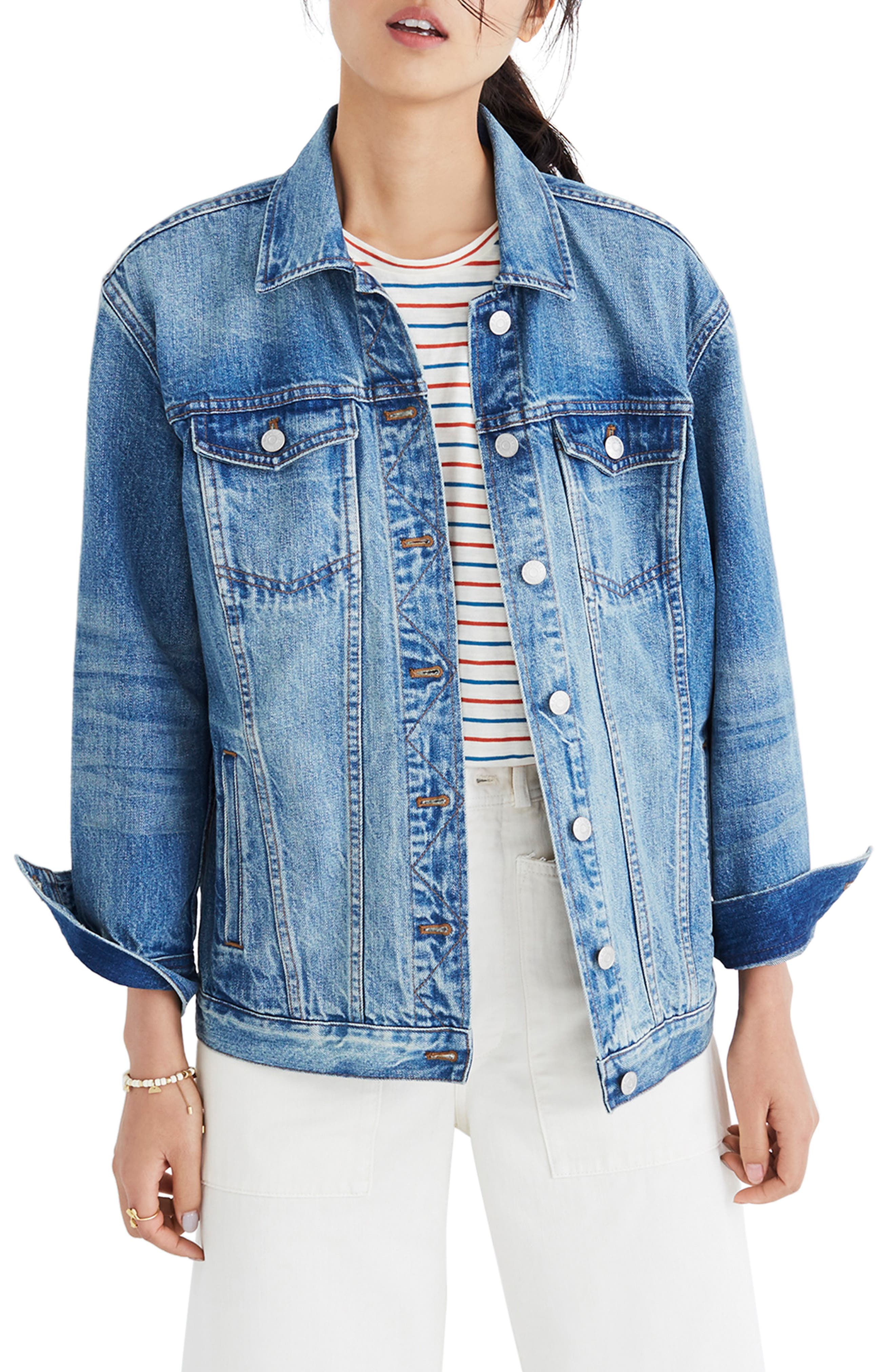 MADEWELL, Oversize Denim Jacket, Main thumbnail 1, color, CAPSTONE WASH