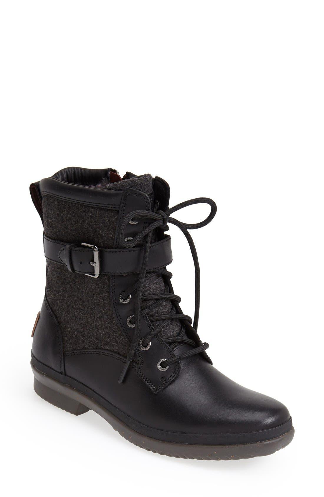 UGG<SUP>®</SUP>, Kesey Waterproof Boot, Main thumbnail 1, color, BLACK