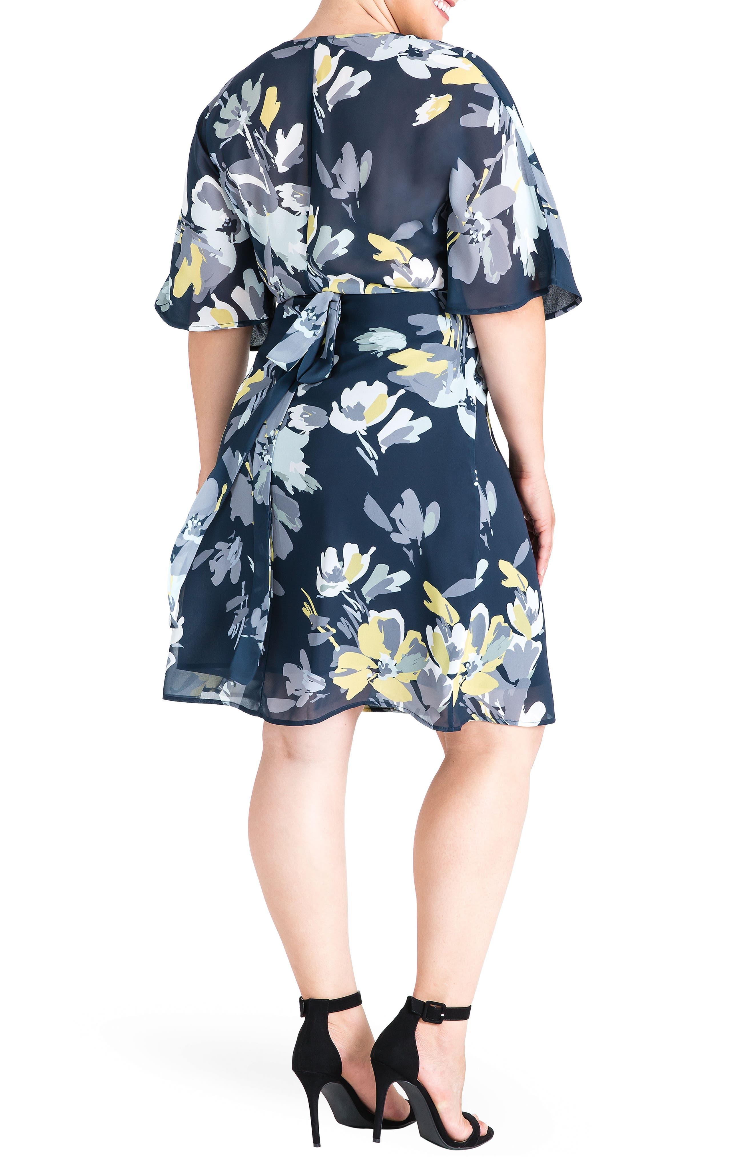 STANDARDS & PRACTICES, Candice Georgette Wrap Dress, Alternate thumbnail 2, color, NAVY PETALS
