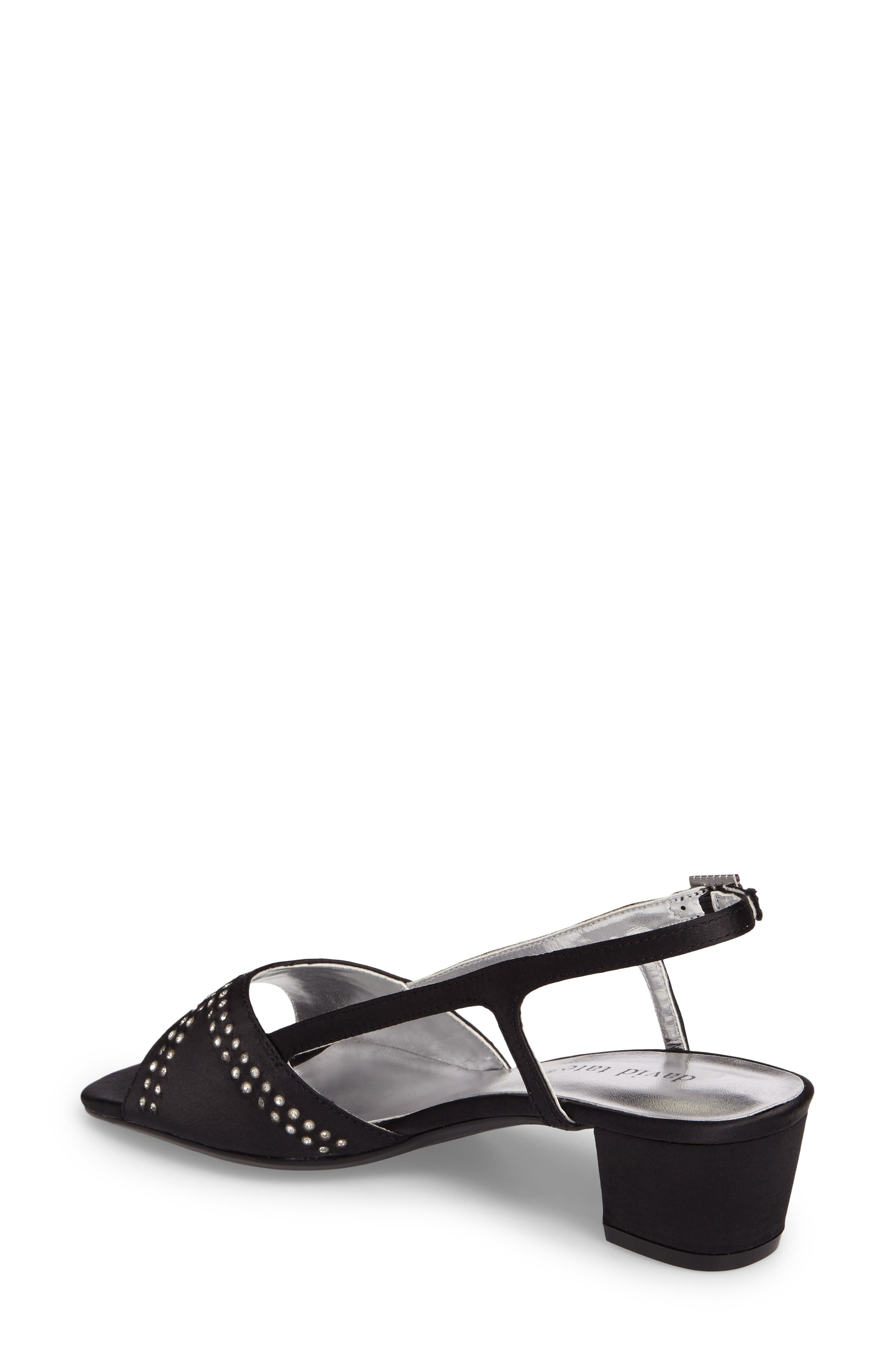 DAVID TATE, Wish Slingback Sandal, Alternate thumbnail 2, color, BLACK SATIN