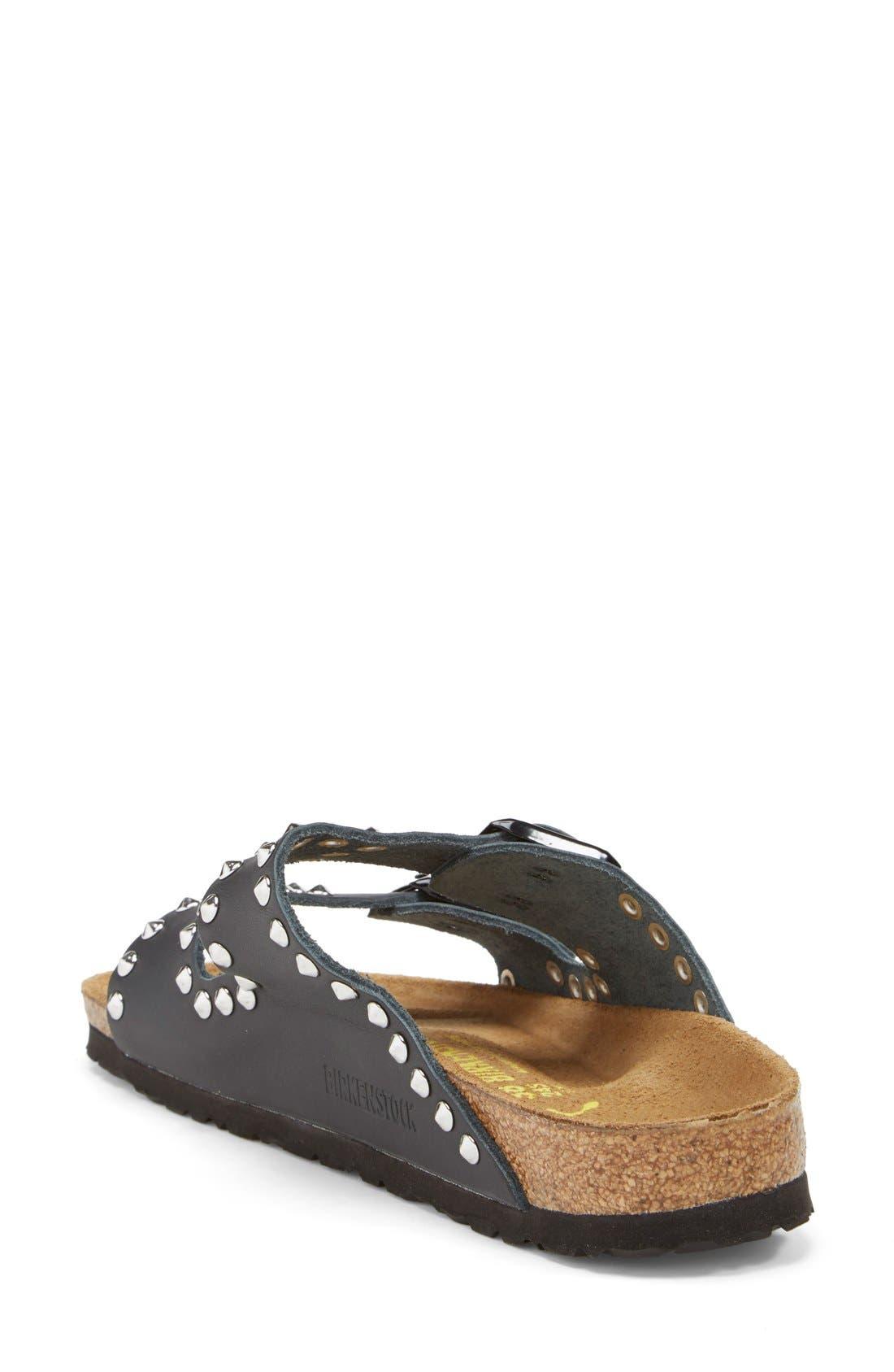 BIRKENSTOCK, 'Arizona' Studded Leather Sandal, Alternate thumbnail 3, color, 001