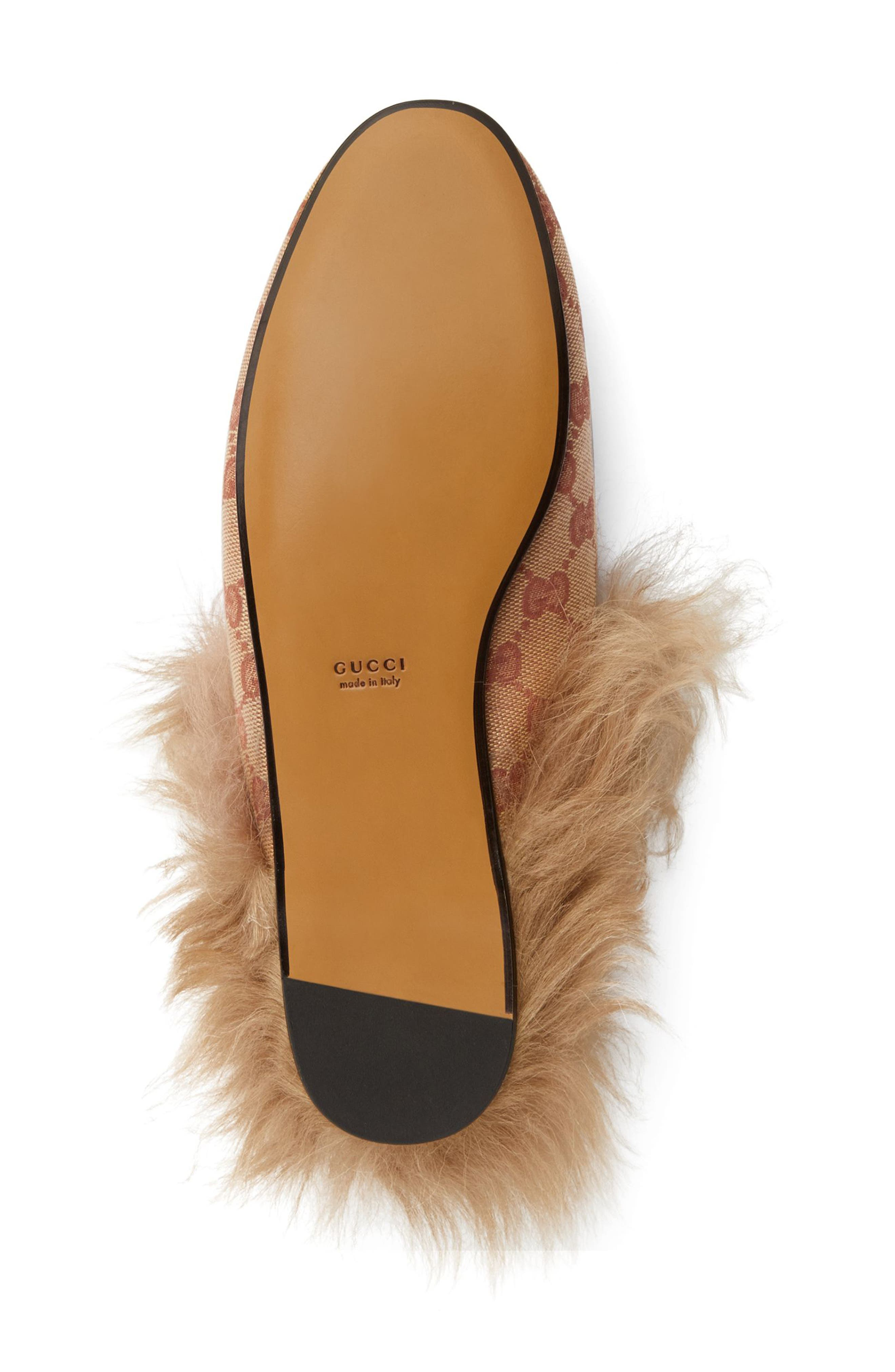 GUCCI, Princetown Genuine Shearling Logo Mule, Alternate thumbnail 5, color, BEIGE