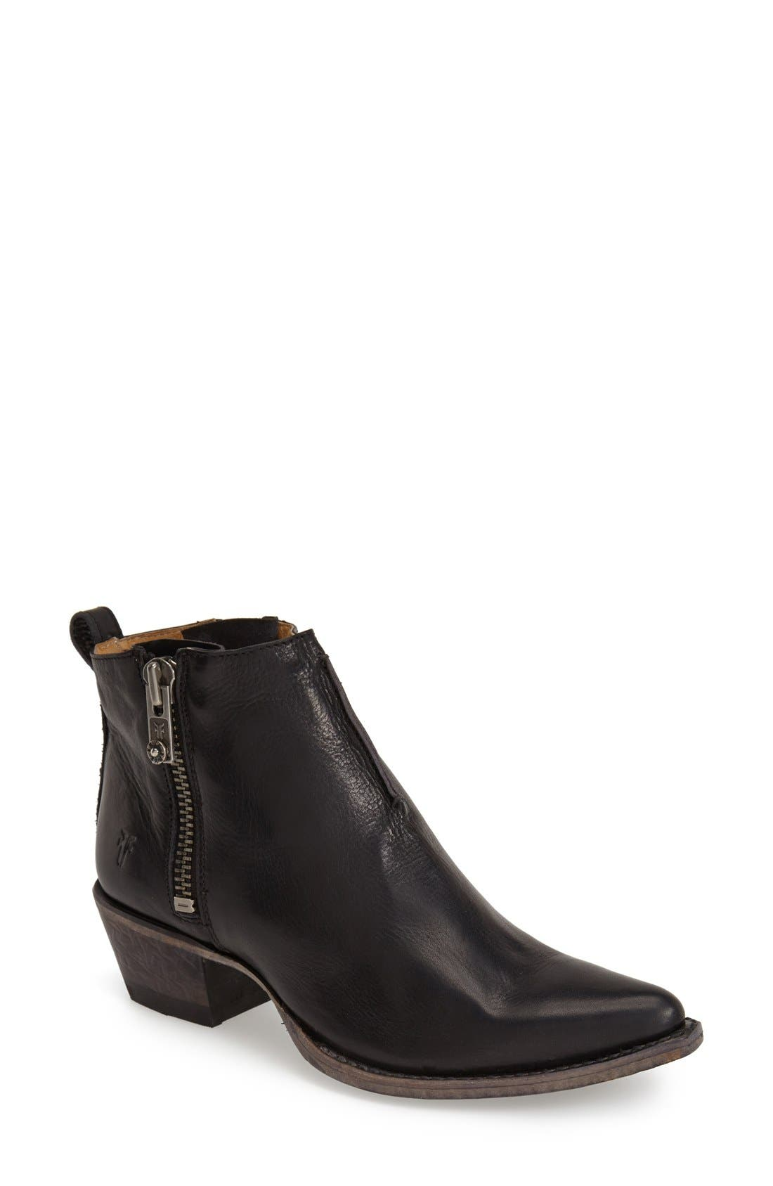FRYE 'Sacha' Washed Leather Ankle Boot, Main, color, BLACK