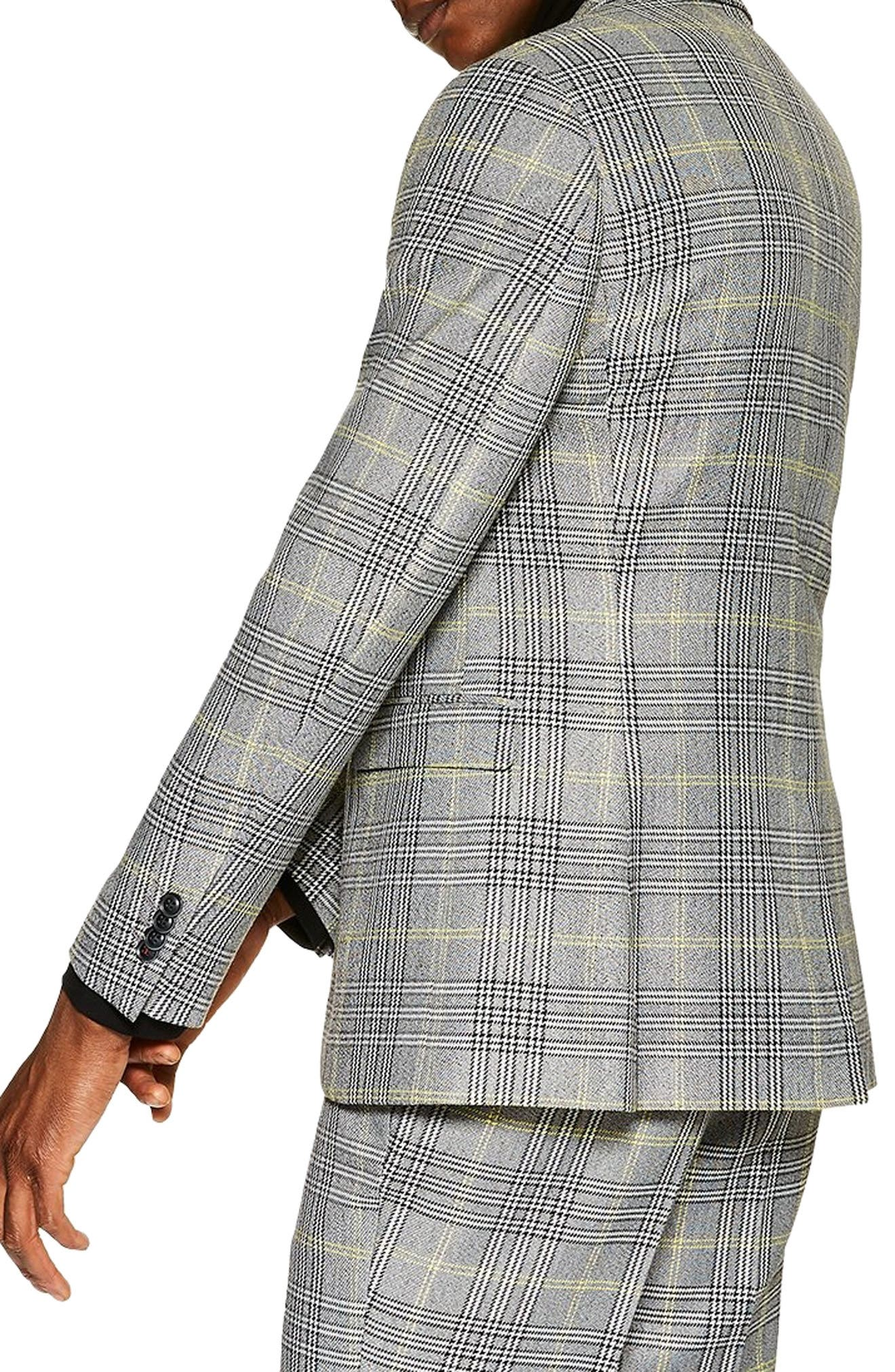 TOPMAN, Single Breasted Check Slim Suit Jacket, Alternate thumbnail 2, color, GREY