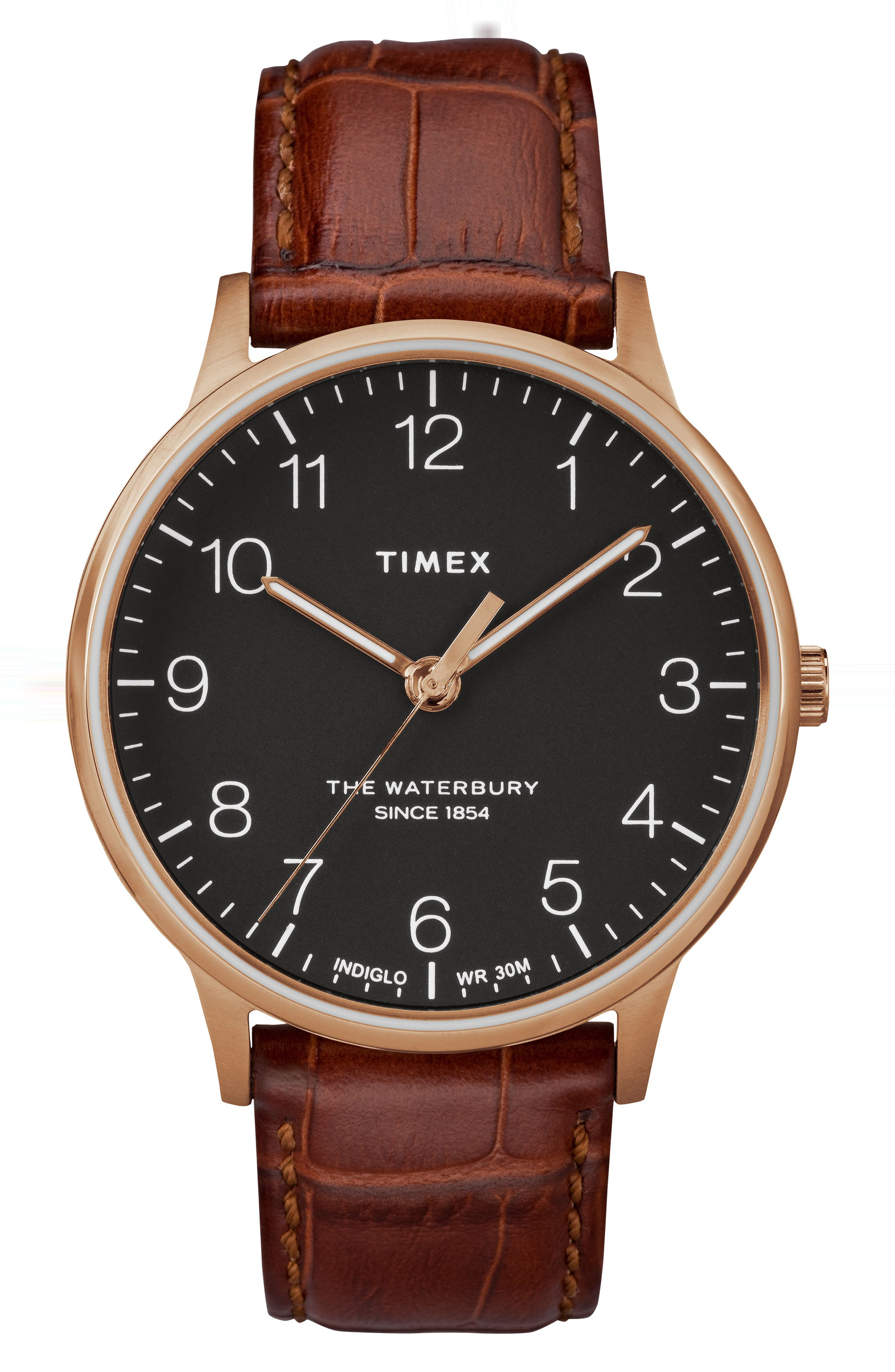 TIMEX<SUP>®</SUP>, Waterbury Leather Strap Watch, 40mm, Main thumbnail 1, color, BROWN/ BLACK/ ROSE GOLD