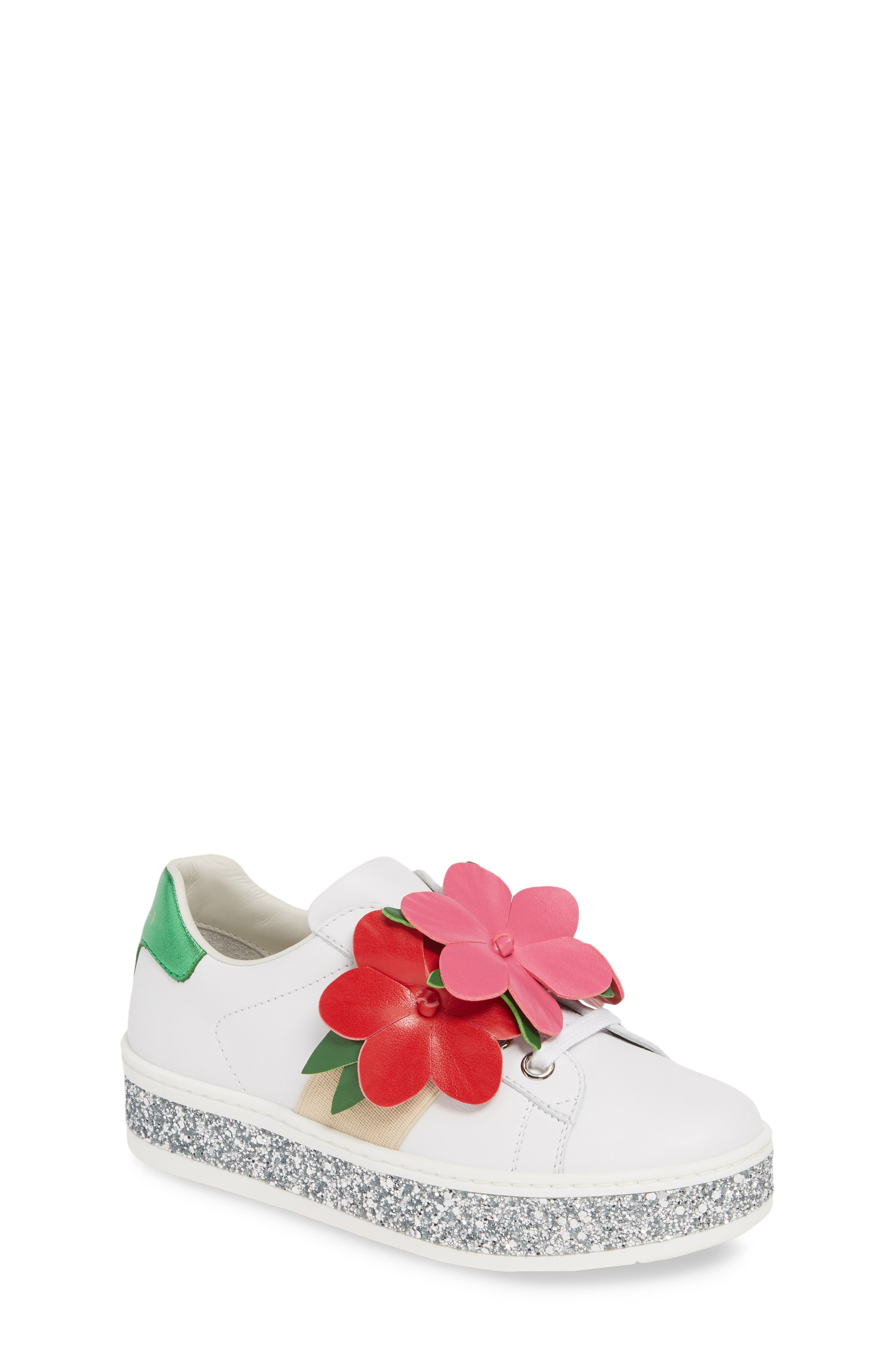 Toddler Gucci New Ace Flower Glitter Platform Sneaker Size 2US  33EU  White