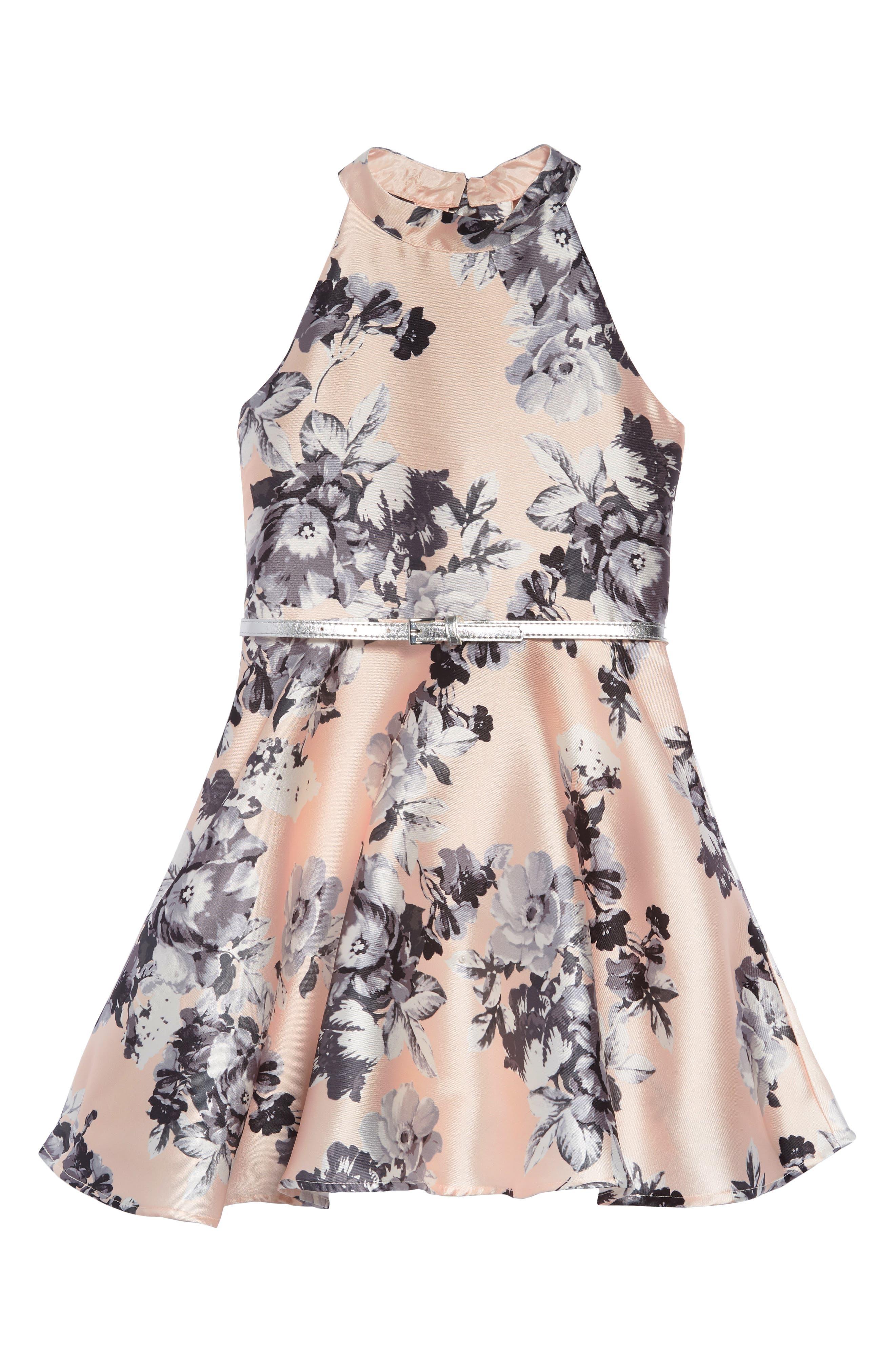 ZUNIE, Floral Fit & Flare Dress, Main thumbnail 1, color, PALE PINK