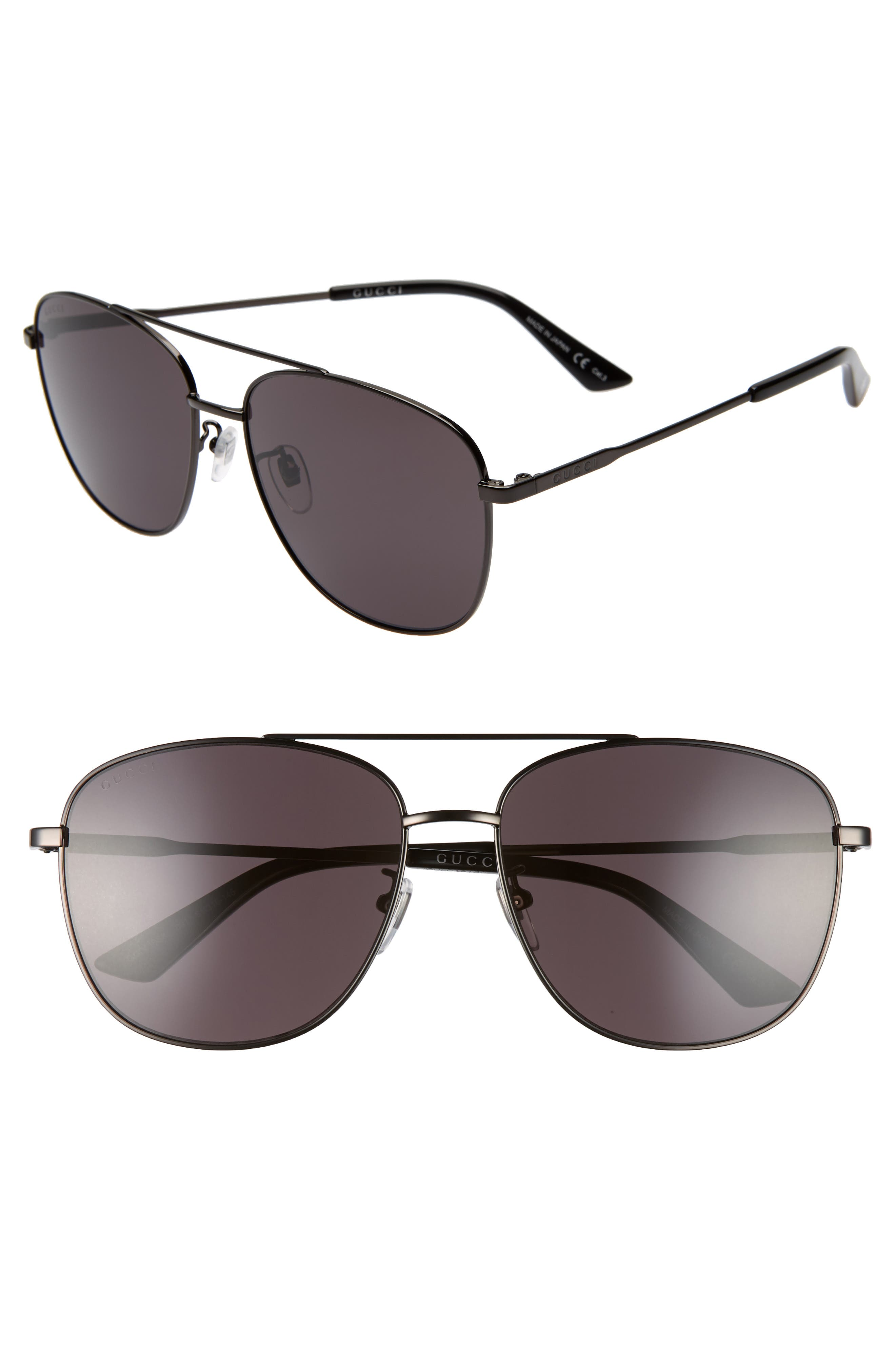 GUCCI, Navigator 61mm Aviator Sunglasses, Main thumbnail 1, color, RUTHENIUM