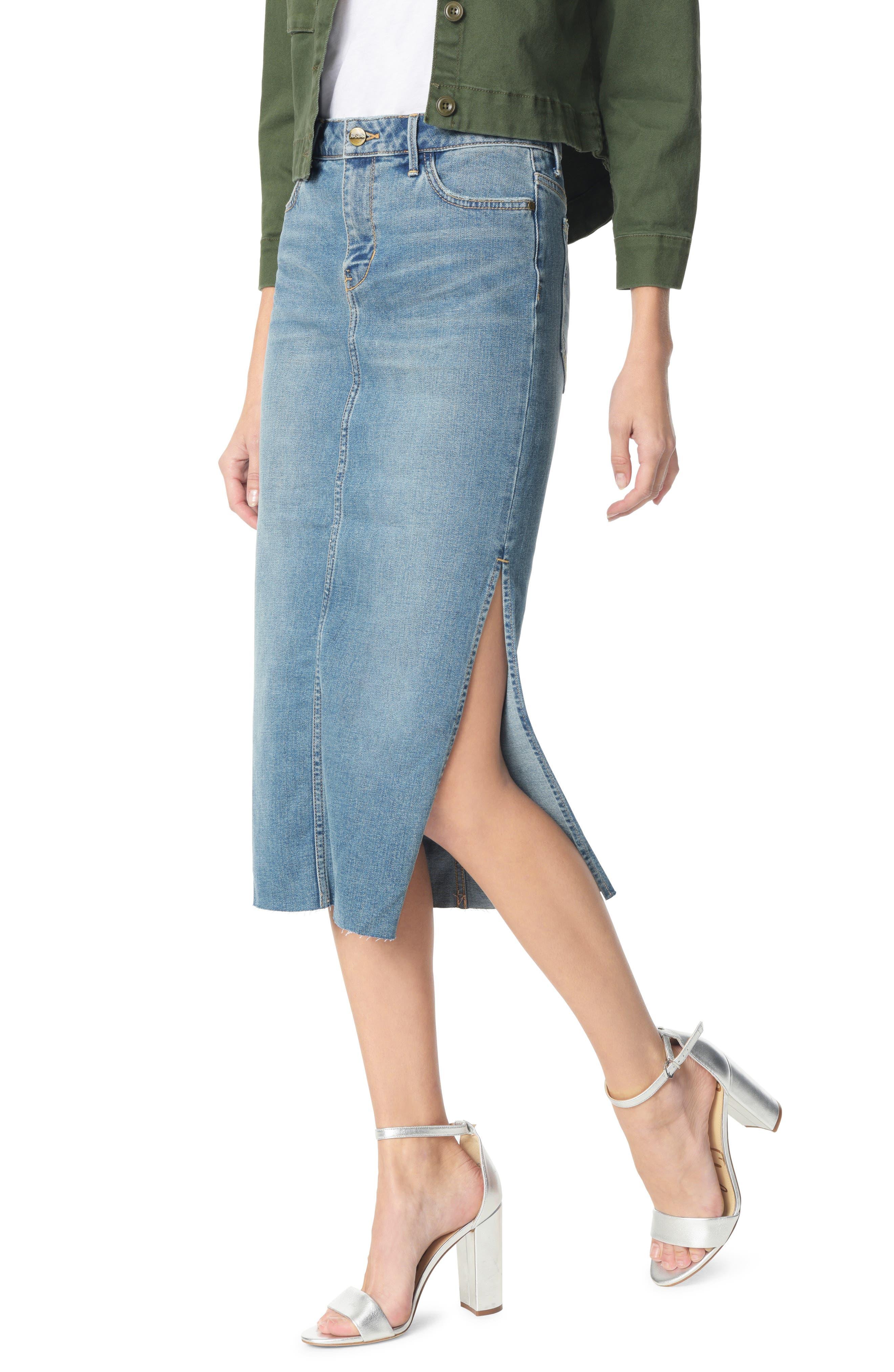 SAM EDELMAN The Maribelle Mid Rise Denim Skirt, Main, color, 421