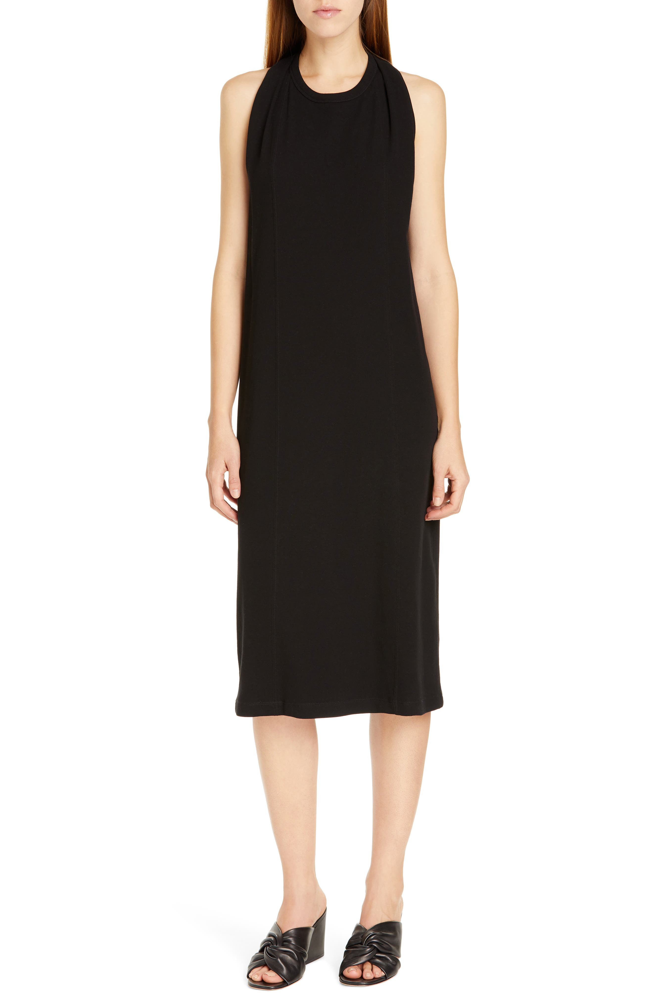 HELMUT LANG Halter Neck Cotton Jersey Dress, Main, color, BLACK