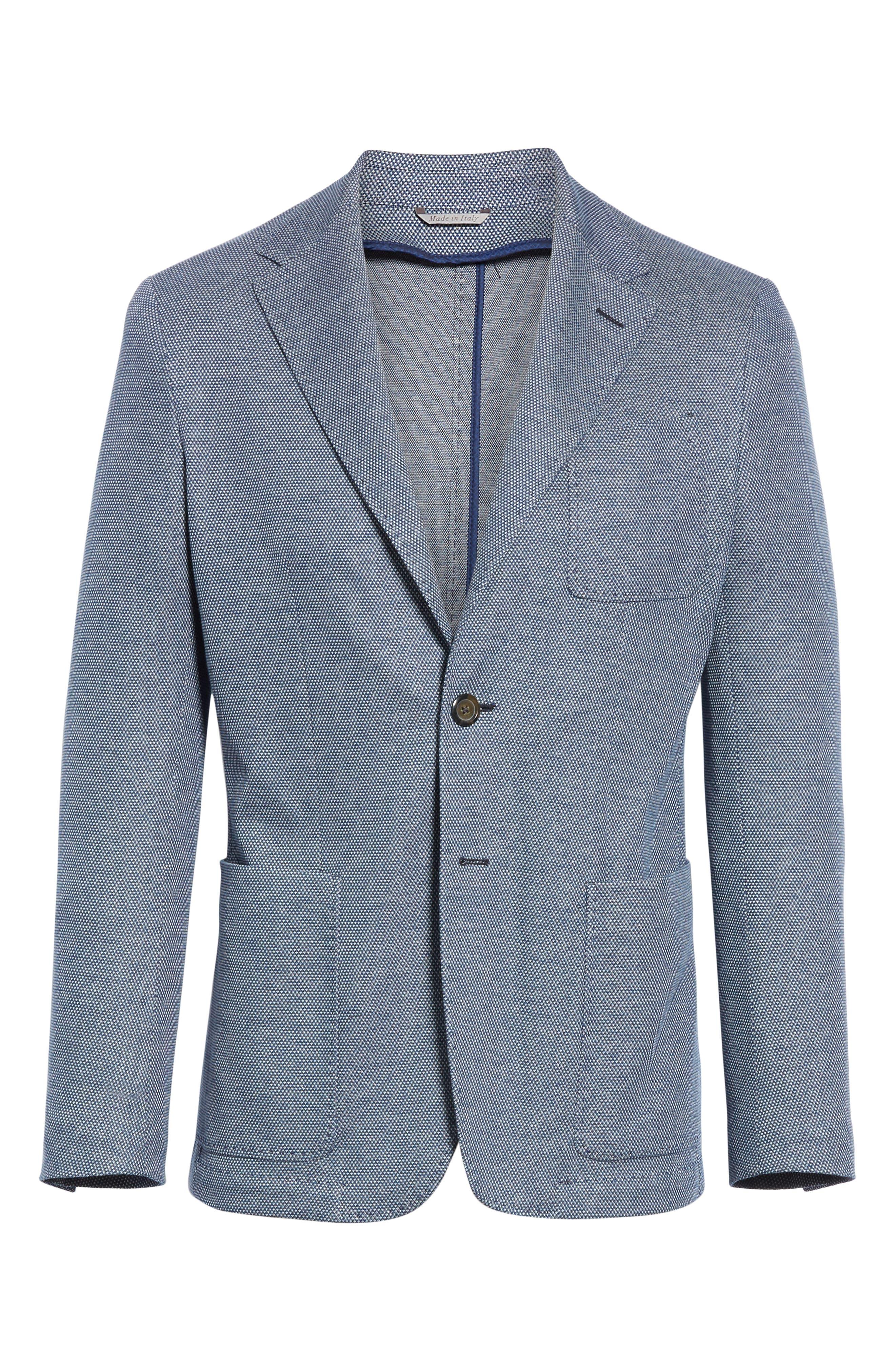CANALI, Classic Fit Cotton Blend Sport Coat, Alternate thumbnail 5, color, NAVY