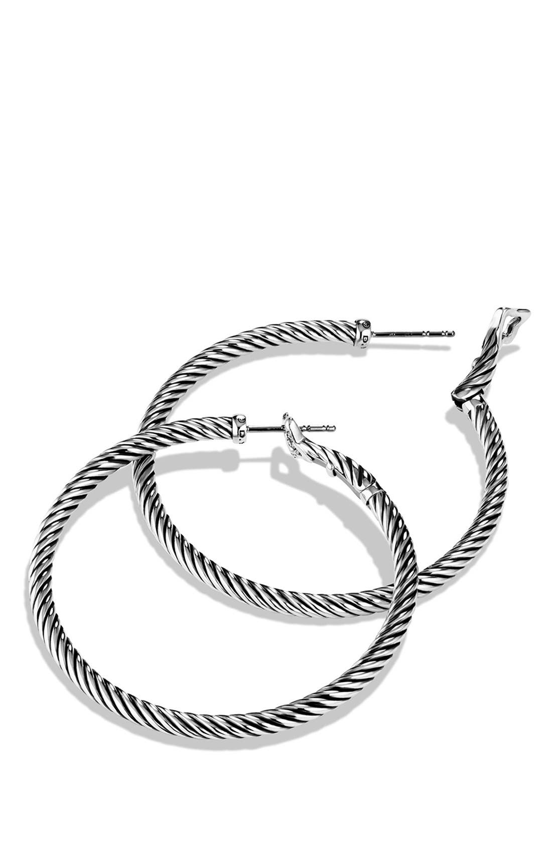 DAVID YURMAN, 'Cable Classics' Large Hoop Earrings, Alternate thumbnail 2, color, SILVER
