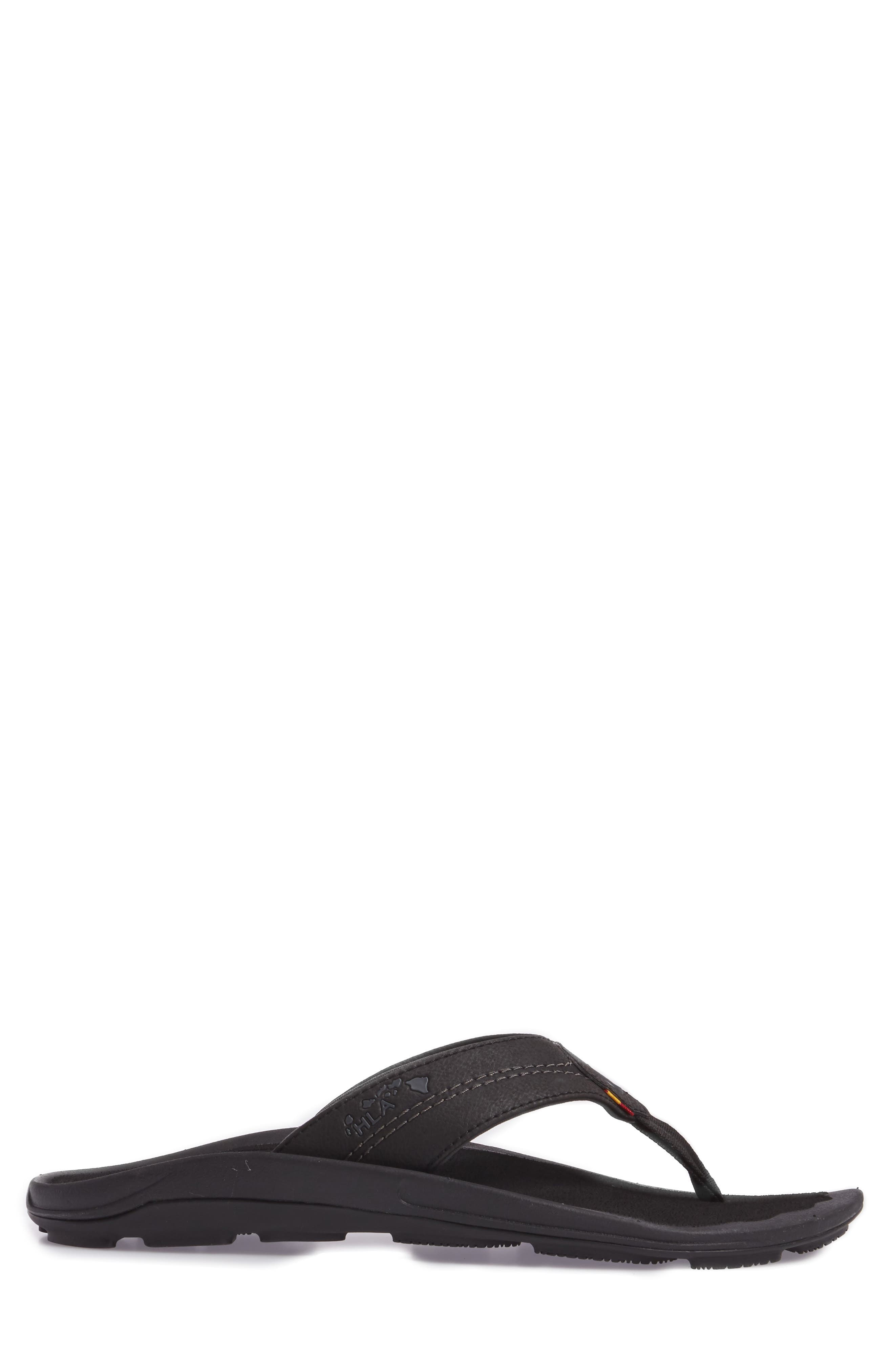 OLUKAI, Kipi Flip Flop, Alternate thumbnail 3, color, BLACK/ BLACK
