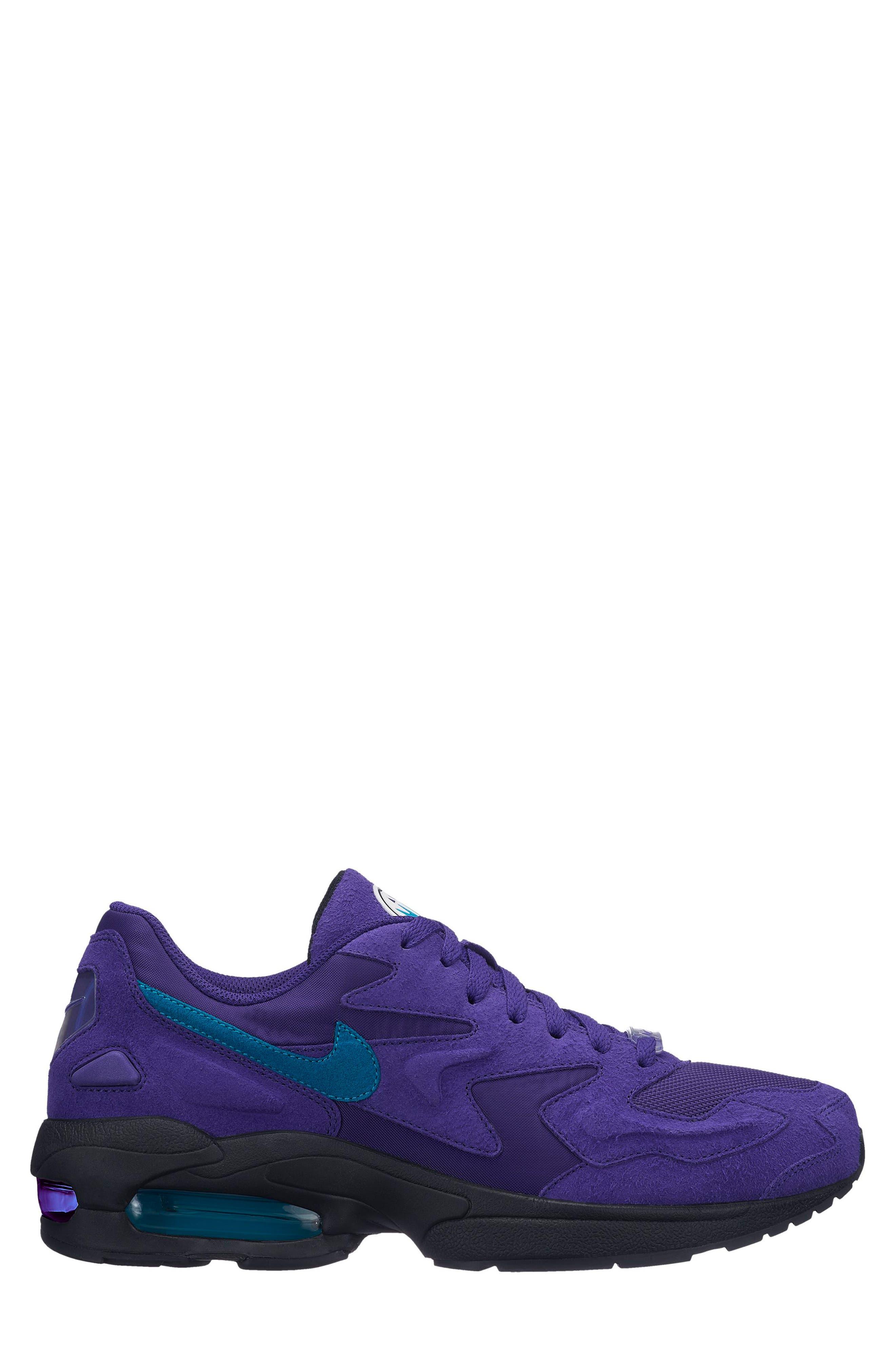 NIKE, Air Max2 Light Sneaker, Alternate thumbnail 3, color, PURPLE/ TEAL/ BLACK/ WHITE