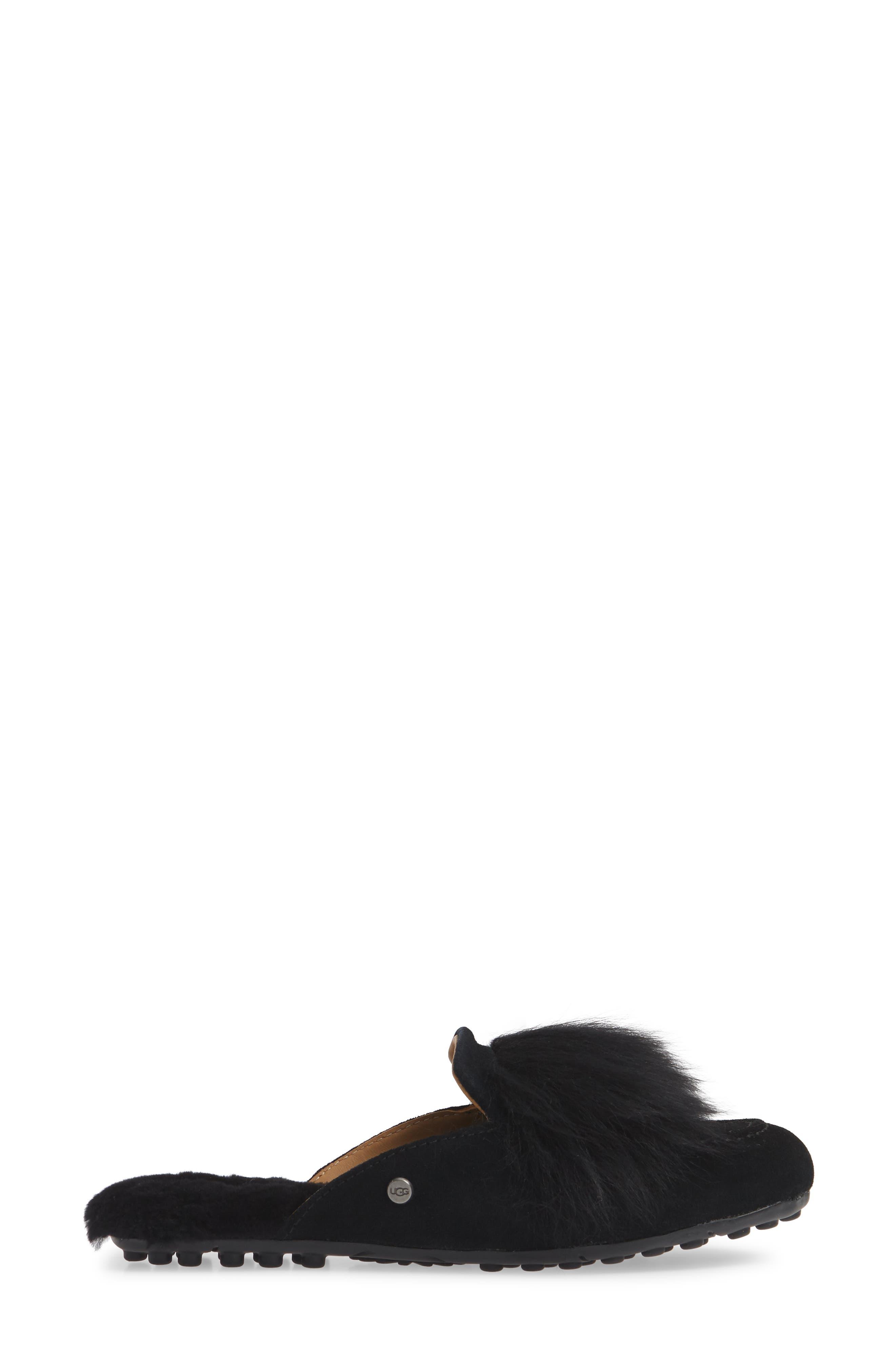 UGG<SUP>®</SUP>, Shaine Wisp Genuine Shearling Slipper, Alternate thumbnail 3, color, BLACK
