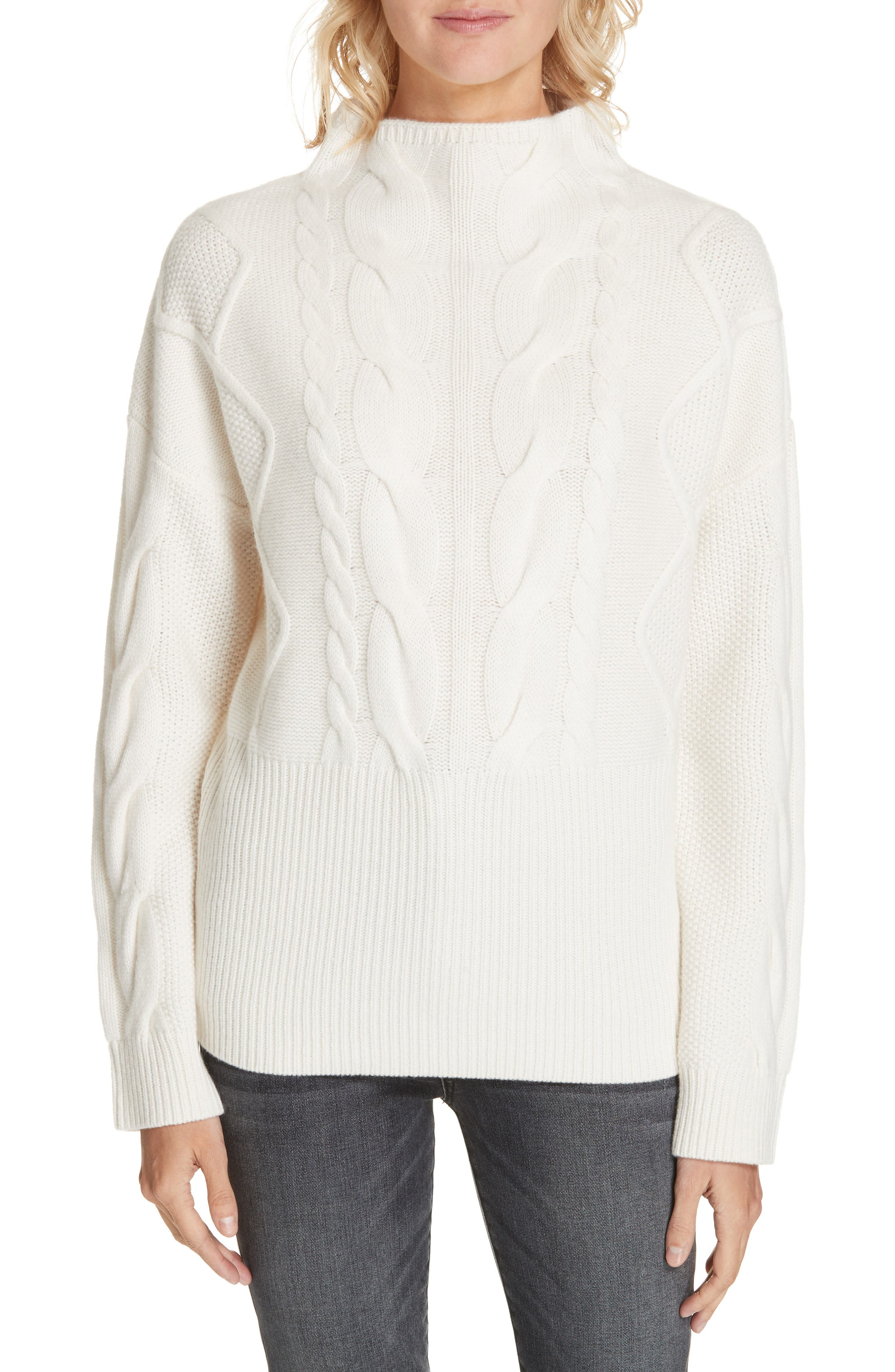 NORDSTROM SIGNATURE, Cable Cashmere Sweater, Main thumbnail 1, color, 900