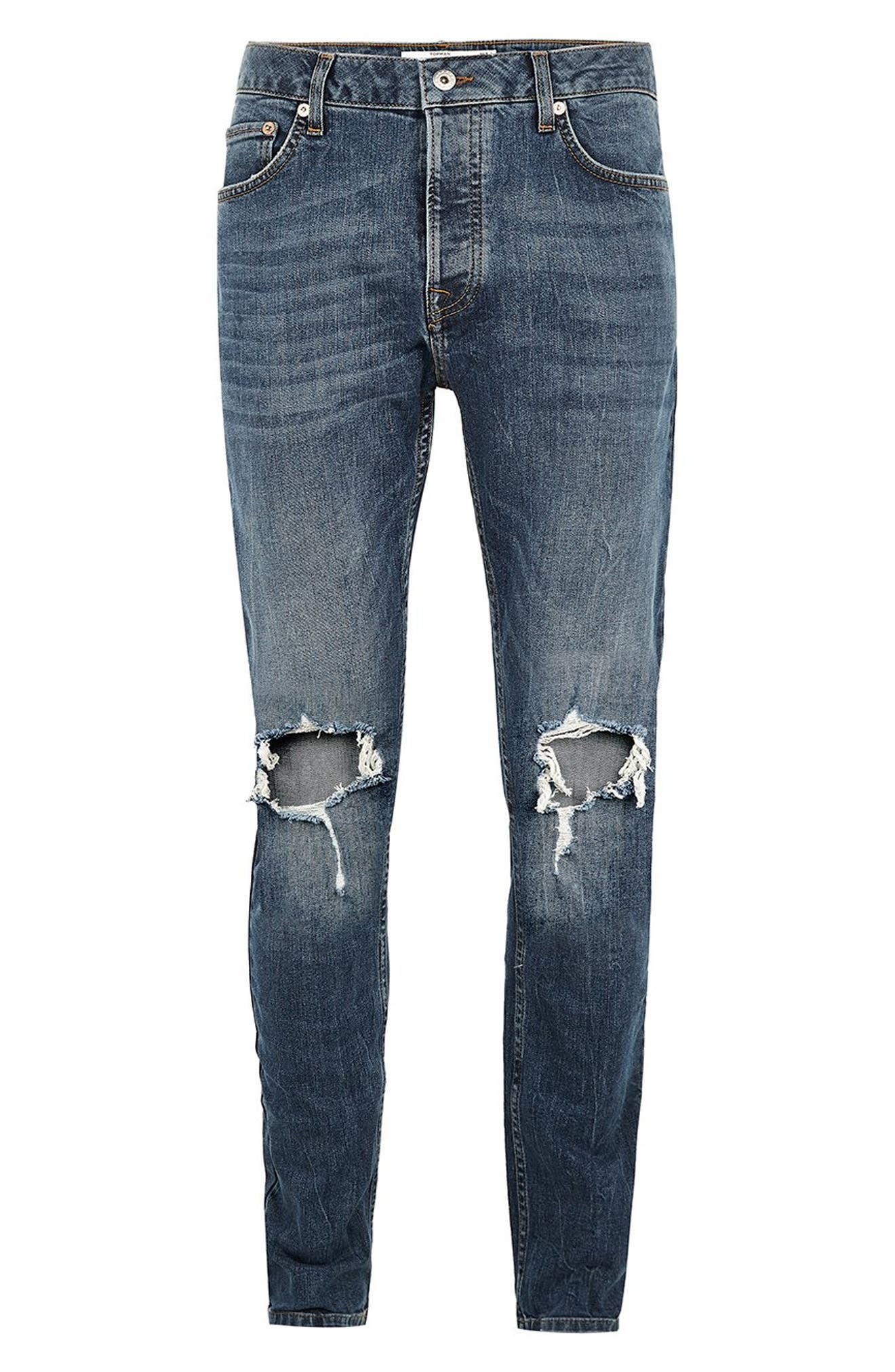 TOPMAN, Polly Ripped Stretch Skinny Jeans, Alternate thumbnail 5, color, BLUE