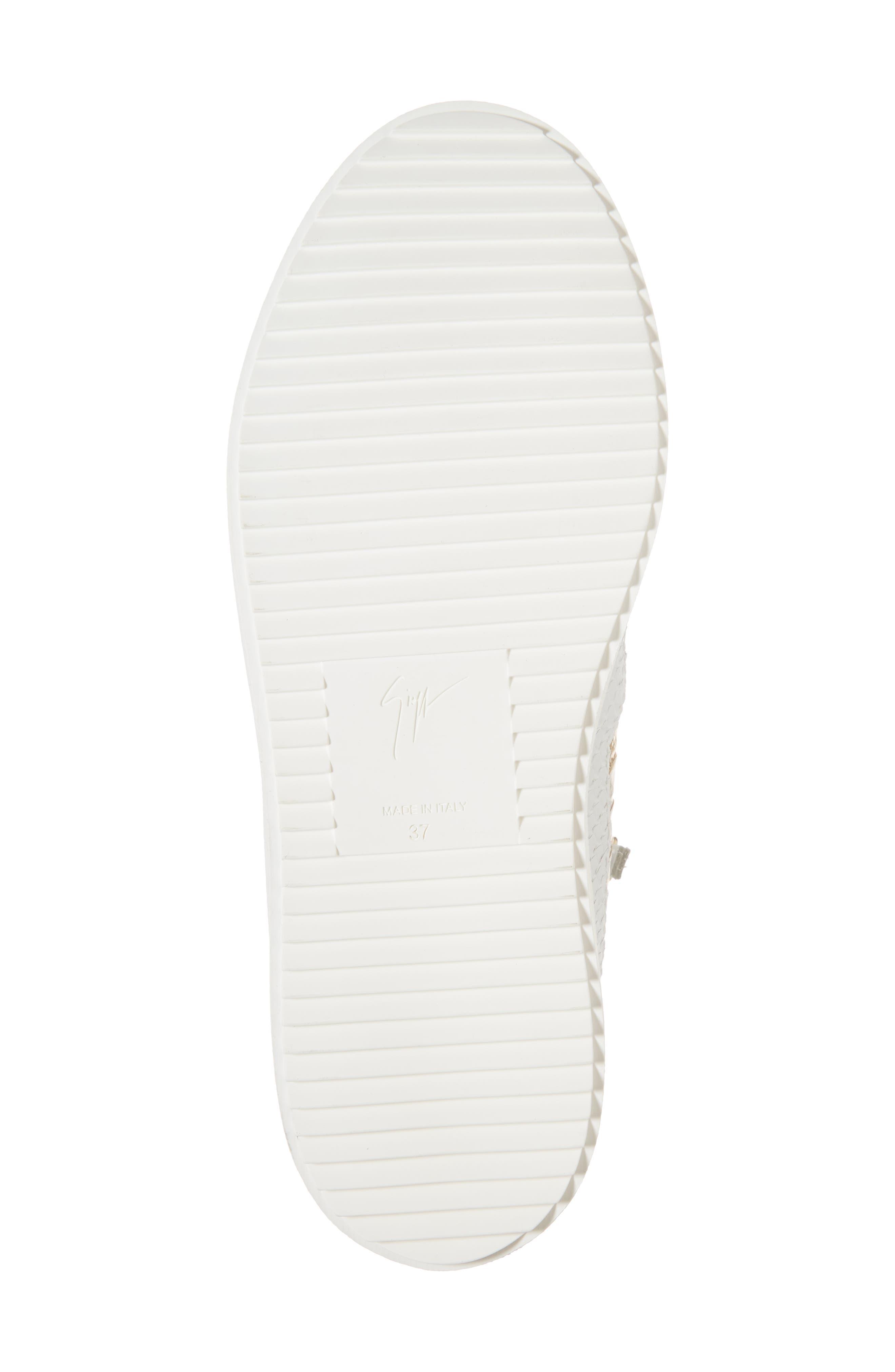 GIUSEPPE ZANOTTI, May London Mid Top Sneaker, Alternate thumbnail 6, color, WHITE/NEON YELLOW