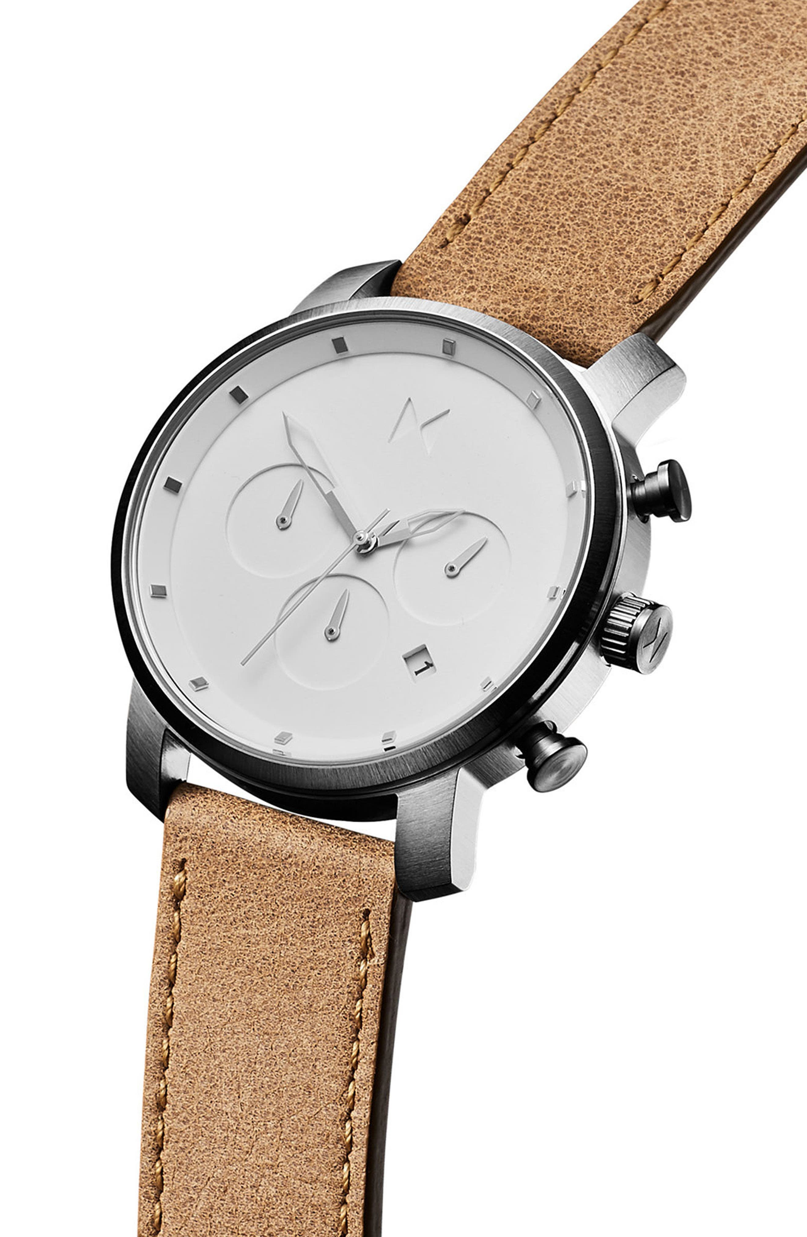 MVMT, The Chrono Chronograph Leather Strap Watch, 40mm, Alternate thumbnail 3, color, CARAMEL/ WHITE