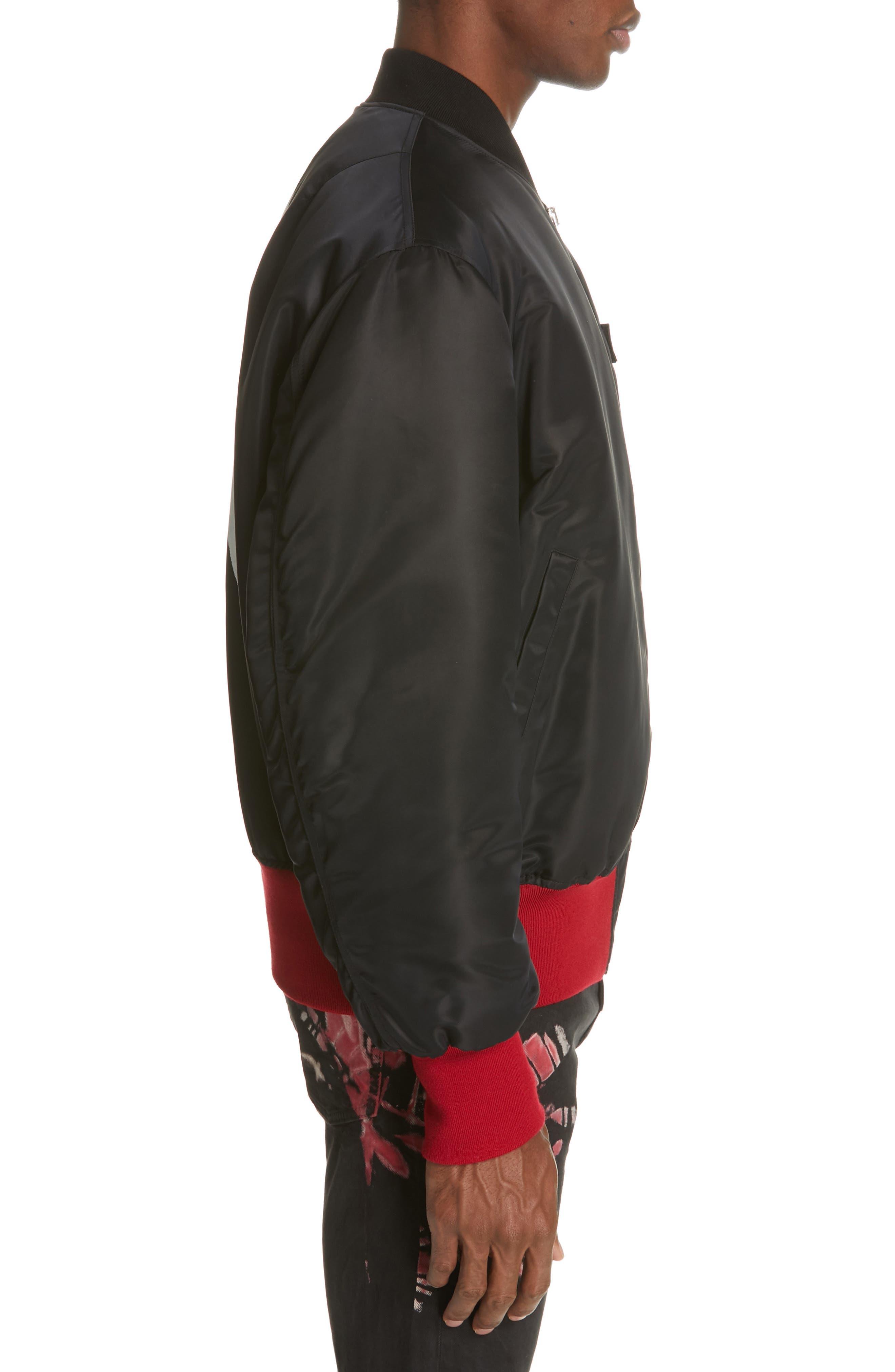 CALVIN KLEIN 205W39NYC, Satin Nylon Bomber Jacket, Alternate thumbnail 3, color, BLACK