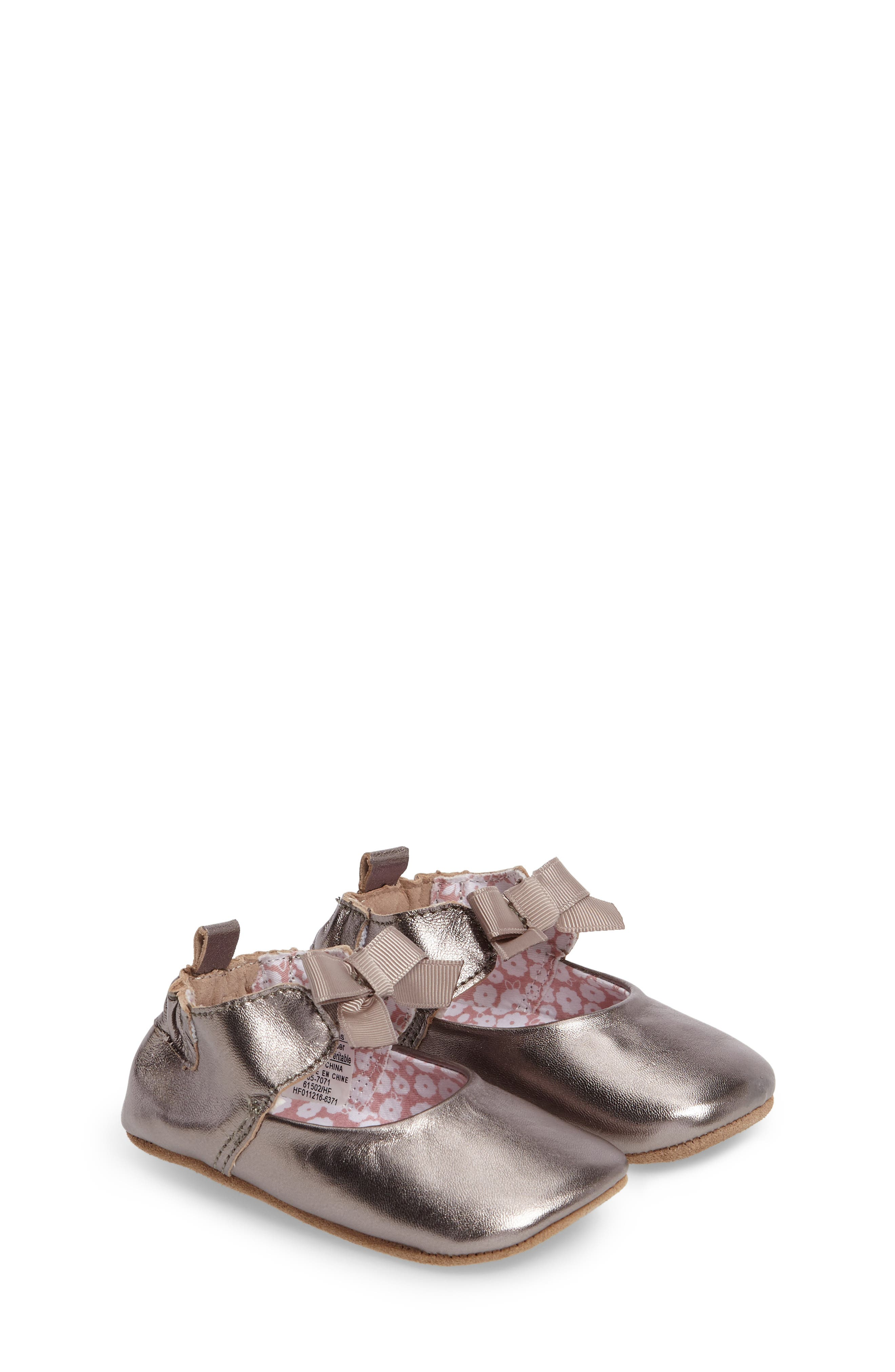 ROBEEZ<SUP>®</SUP> Amelia Crib Shoes, Main, color, GREY
