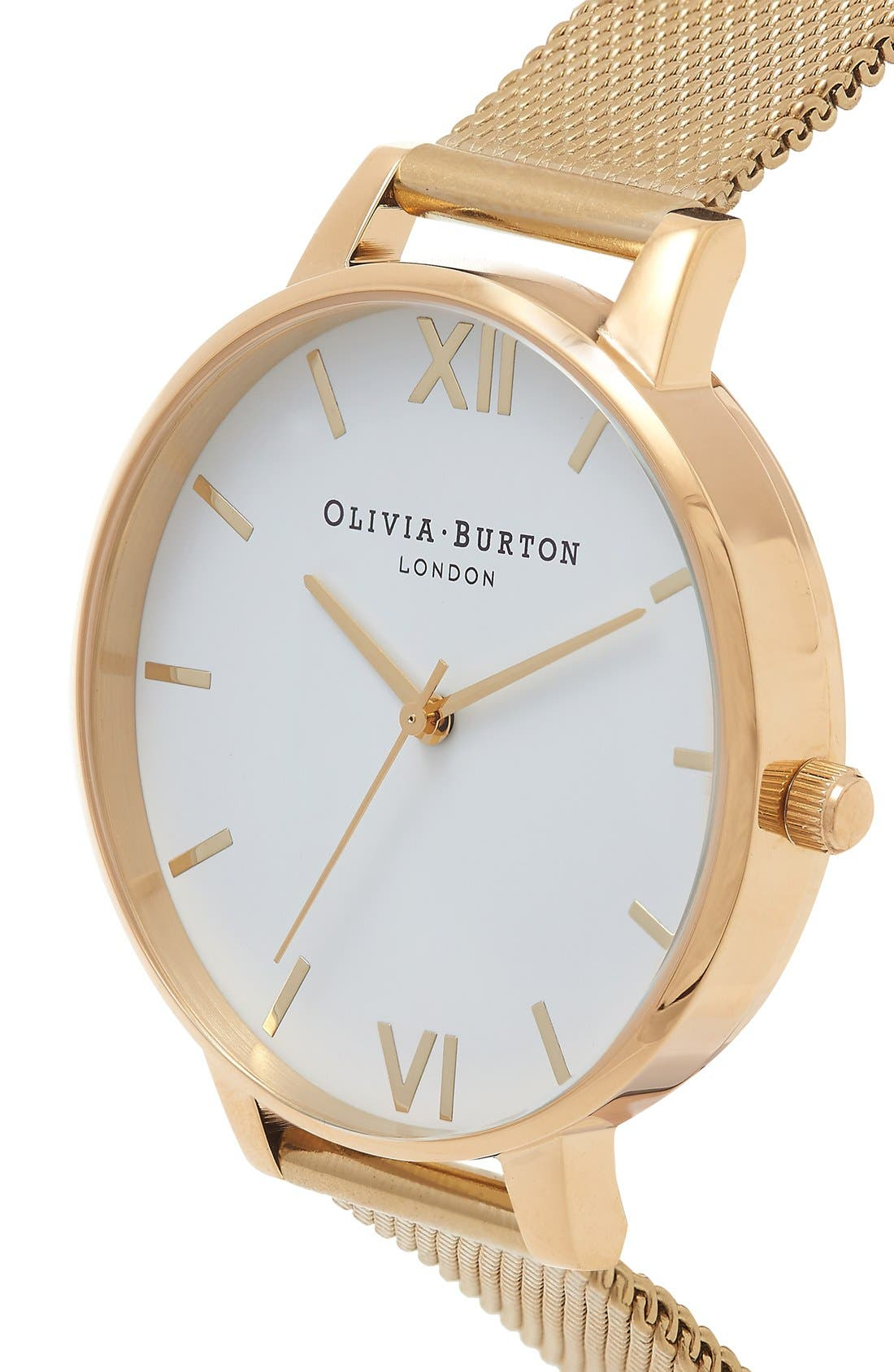 OLIVIA BURTON, 'Big Dial' Mesh Strap Watch, 38mm, Alternate thumbnail 5, color, GOLD/ WHITE
