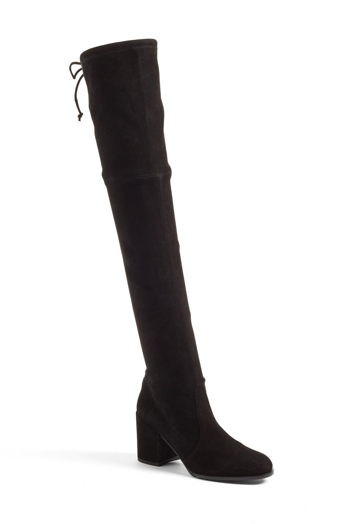 STUART WEITZMAN Tieland Over the Knee Boot, Main, color, BLACK SUEDE