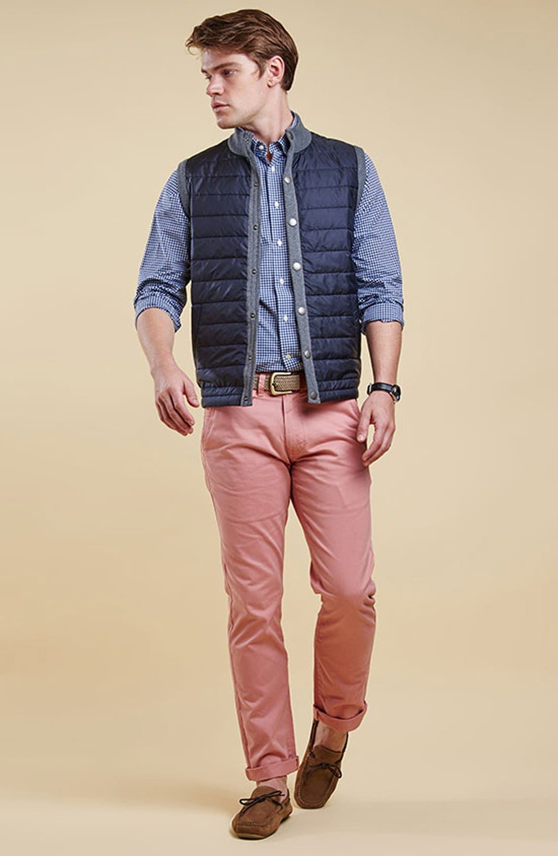 BARBOUR, 'Essential' Tailored Fit Mixed Media Vest, Alternate thumbnail 10, color, MID GREY