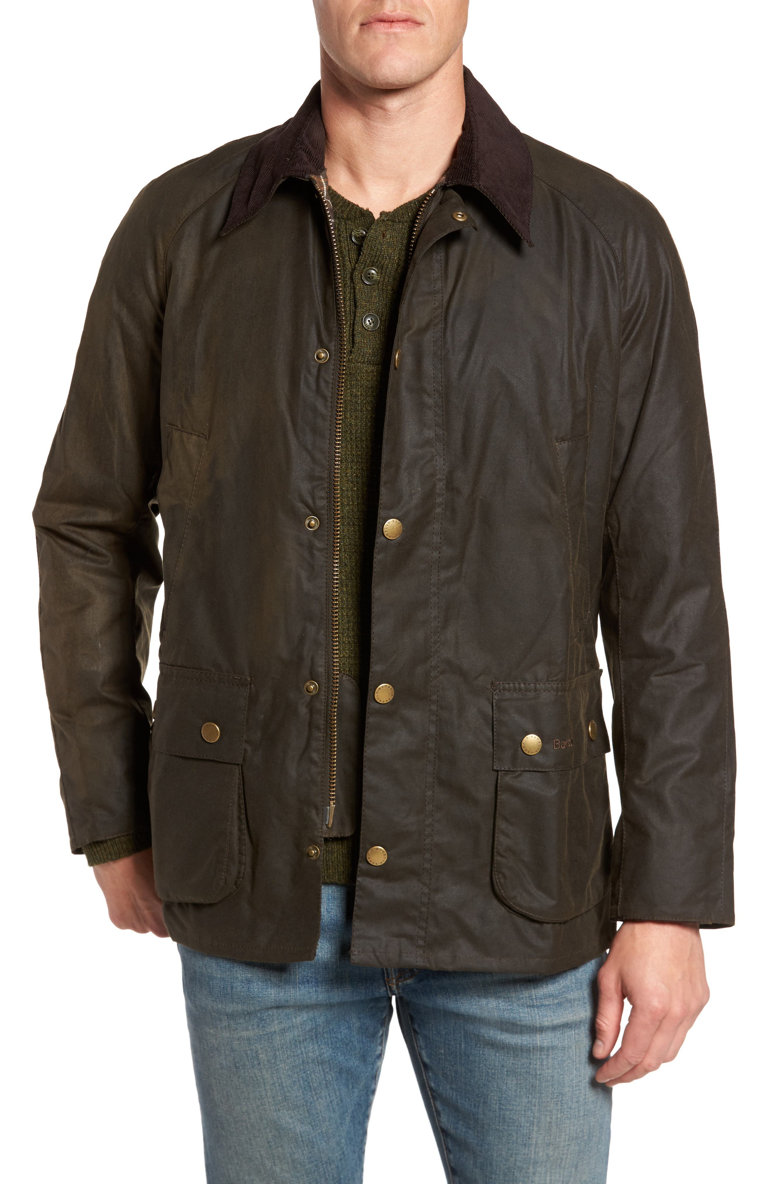 BARBOUR, Ashby Wax Jacket, Main thumbnail 1, color, OLIVE