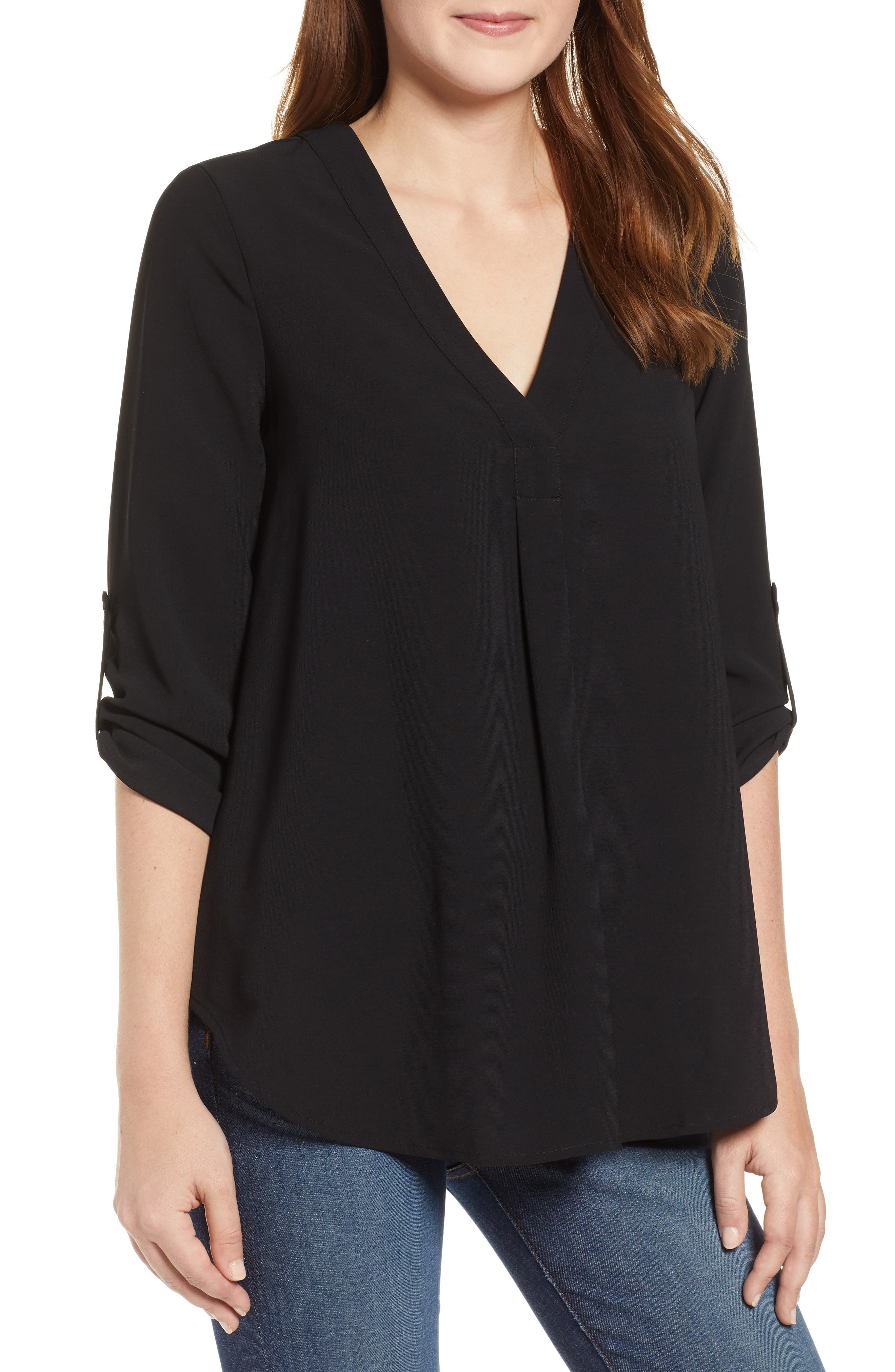 EVERLEIGH Roll Tab Sleeve Tunic, Main, color, BLACK