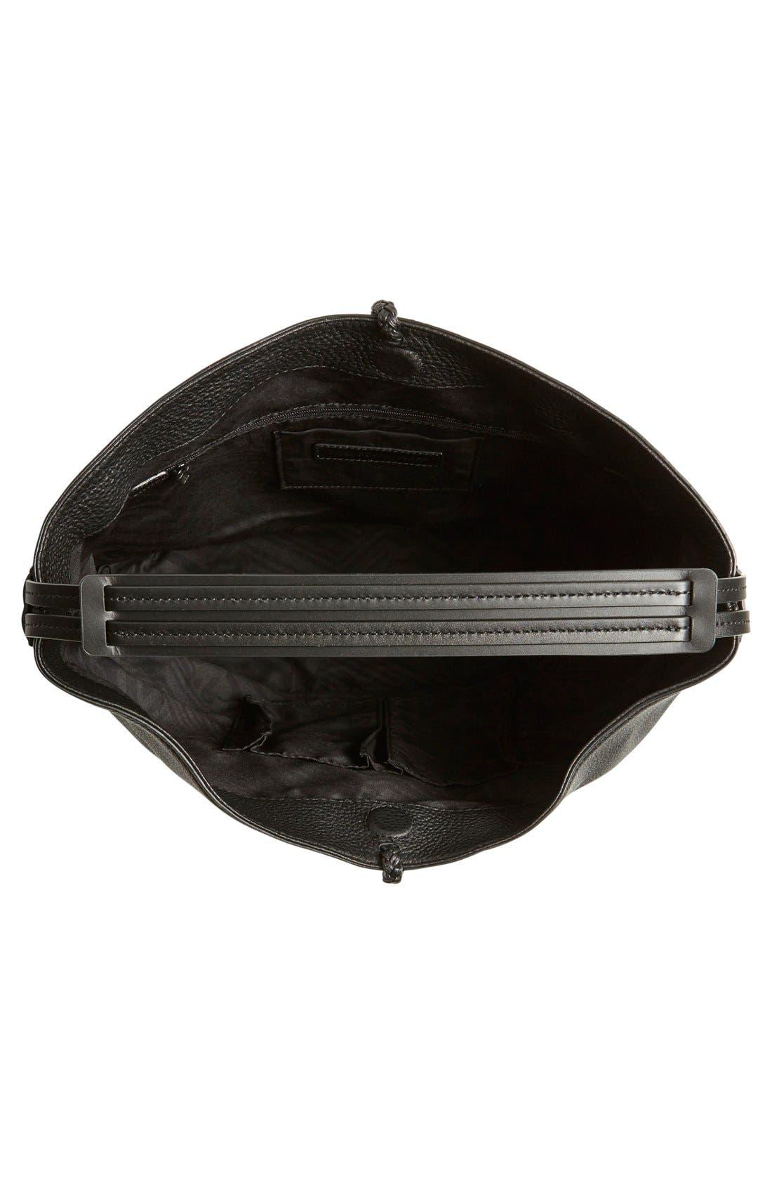 REBECCA MINKOFF, 'Isobel' Tassel Leather Hobo, Alternate thumbnail 2, color, 001
